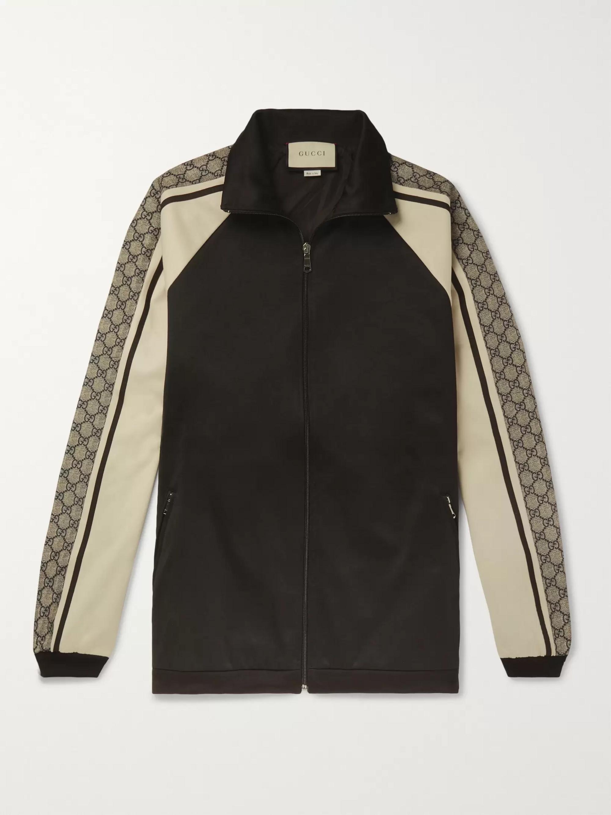 8201ecf0f Black Logo Striped Tech-Jersey Track Jacket | Gucci | MR PORTER