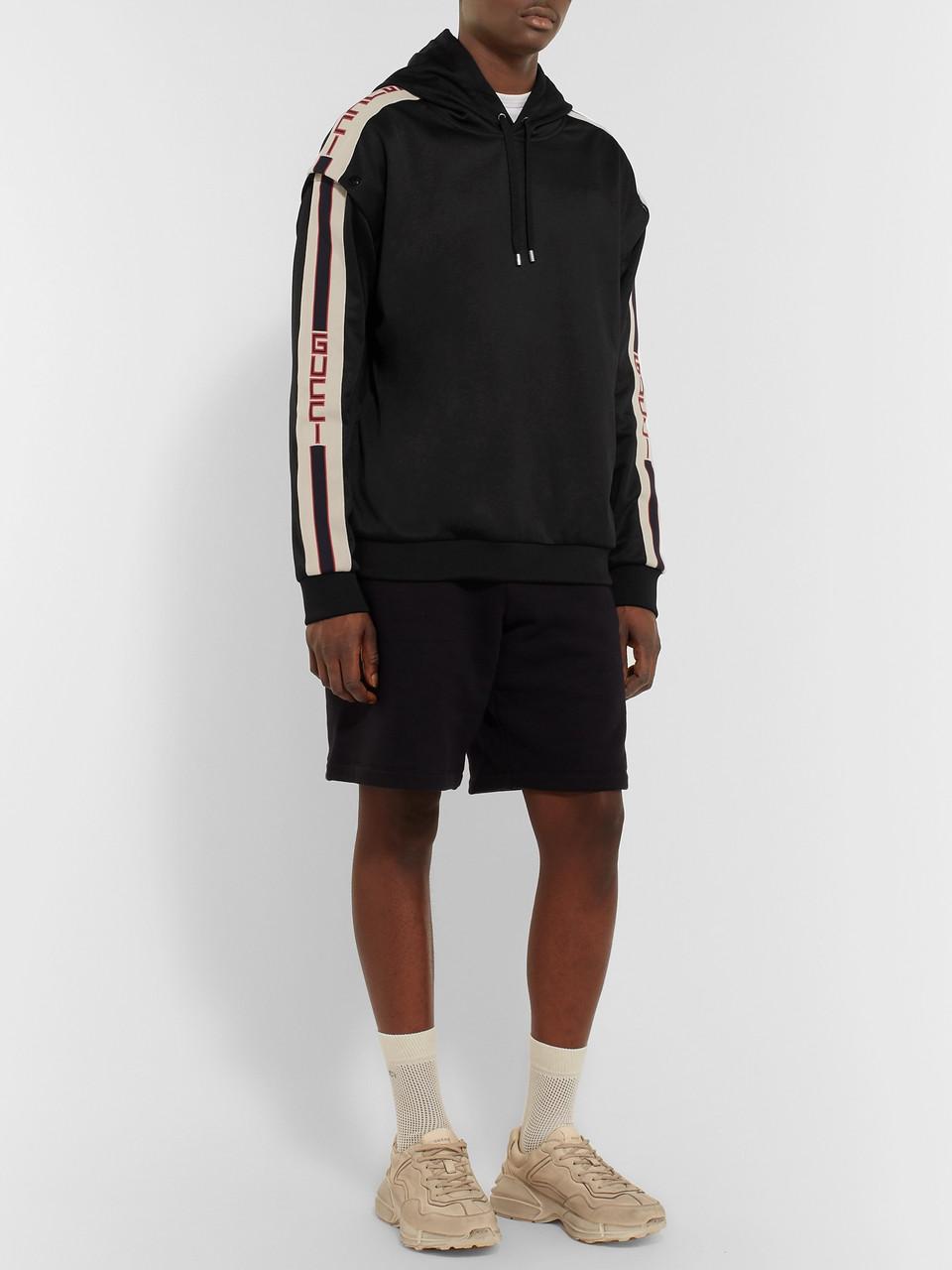 7f03e3c21 Black Webbing-Trimmed Tech-Jersey Hoodie