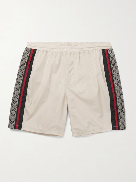 Gucci Wide-Leg Long-Length Striped Logo-Print Swim Shorts