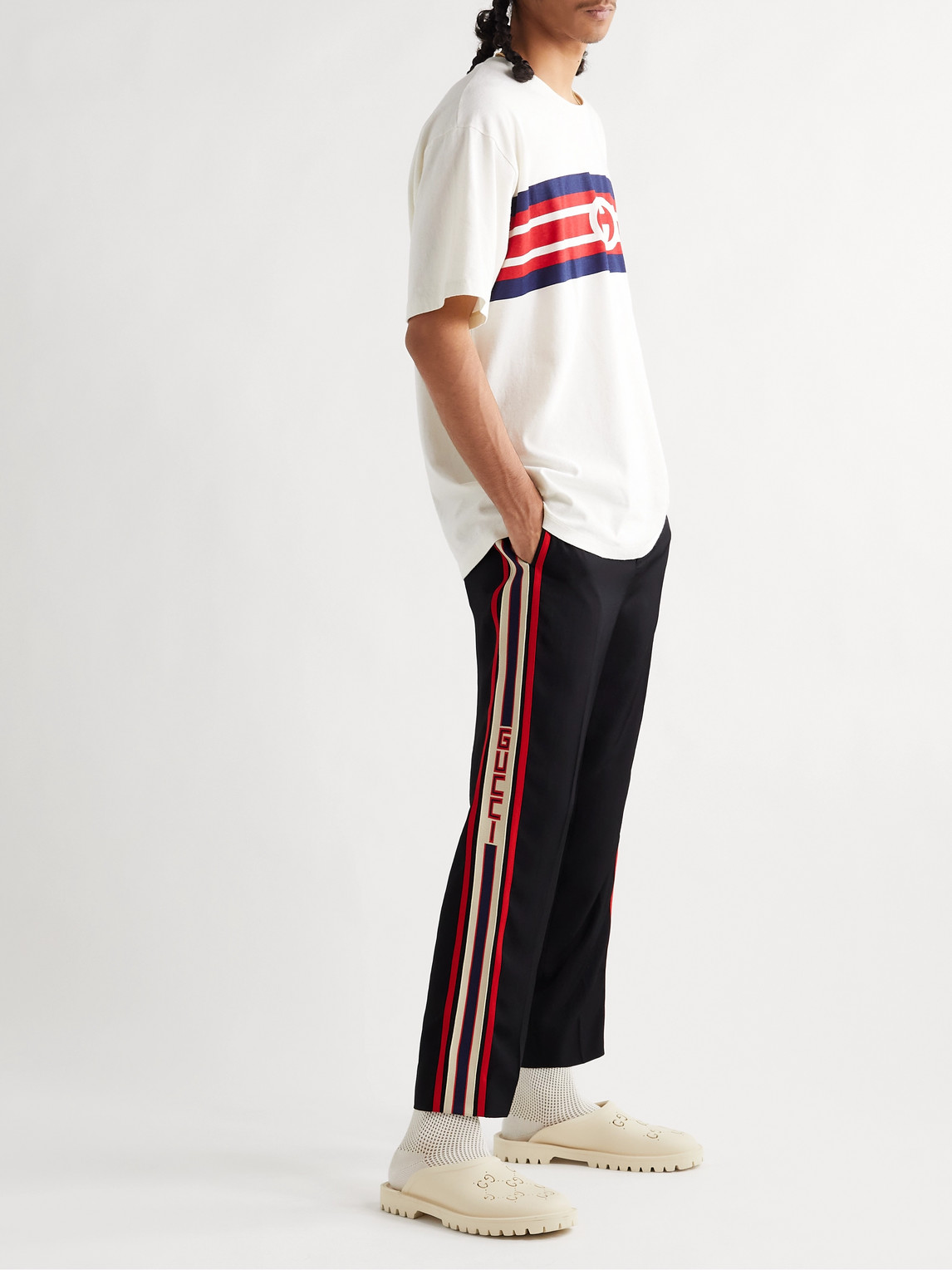 Gucci Jewelry TAPERED LOGO WEBBING-TRIMMED WOVEN DRAWSTRING TROUSERS