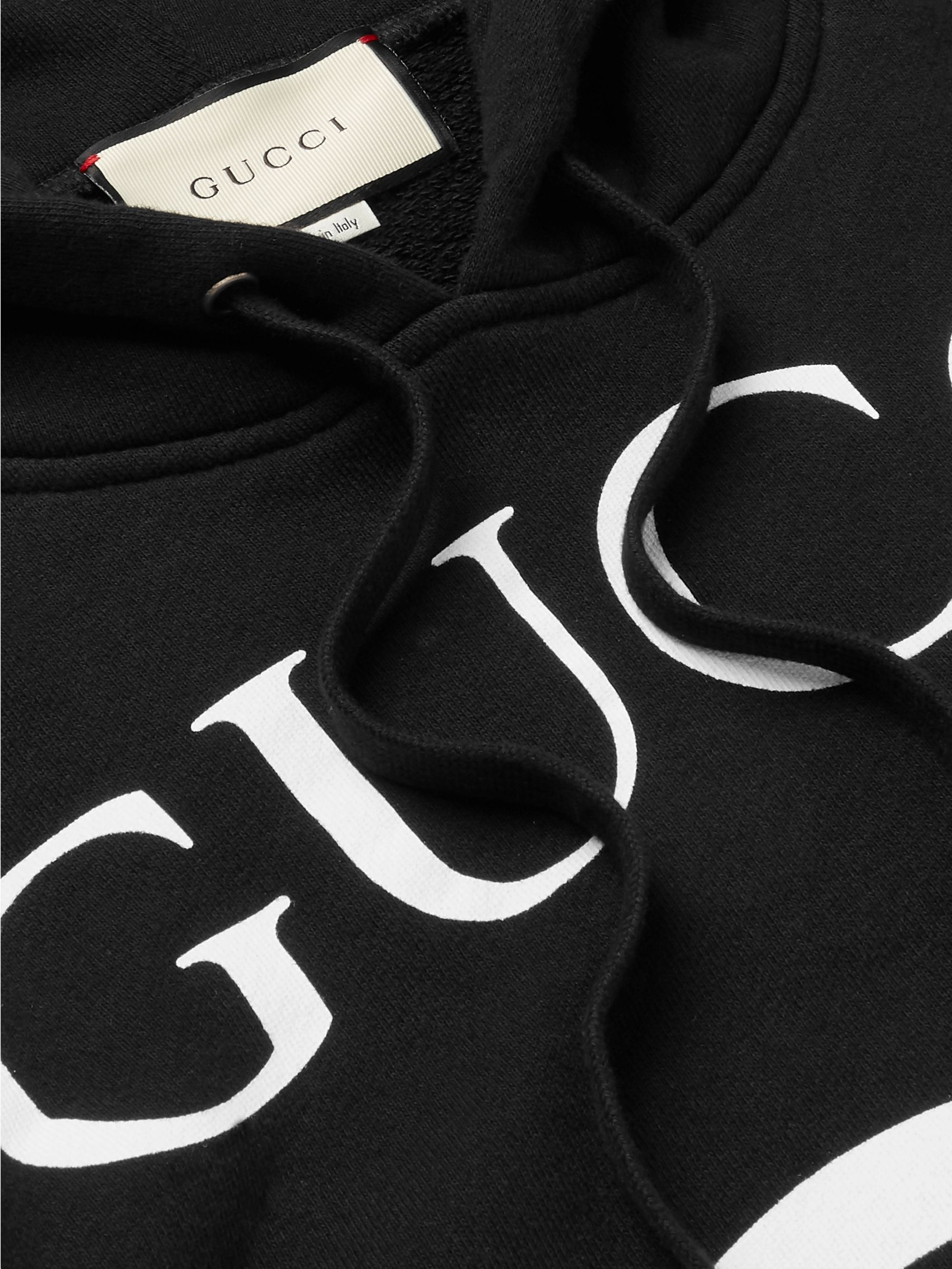 Gucci Logo-Print Loopback Cotton-Jersey Hoodie