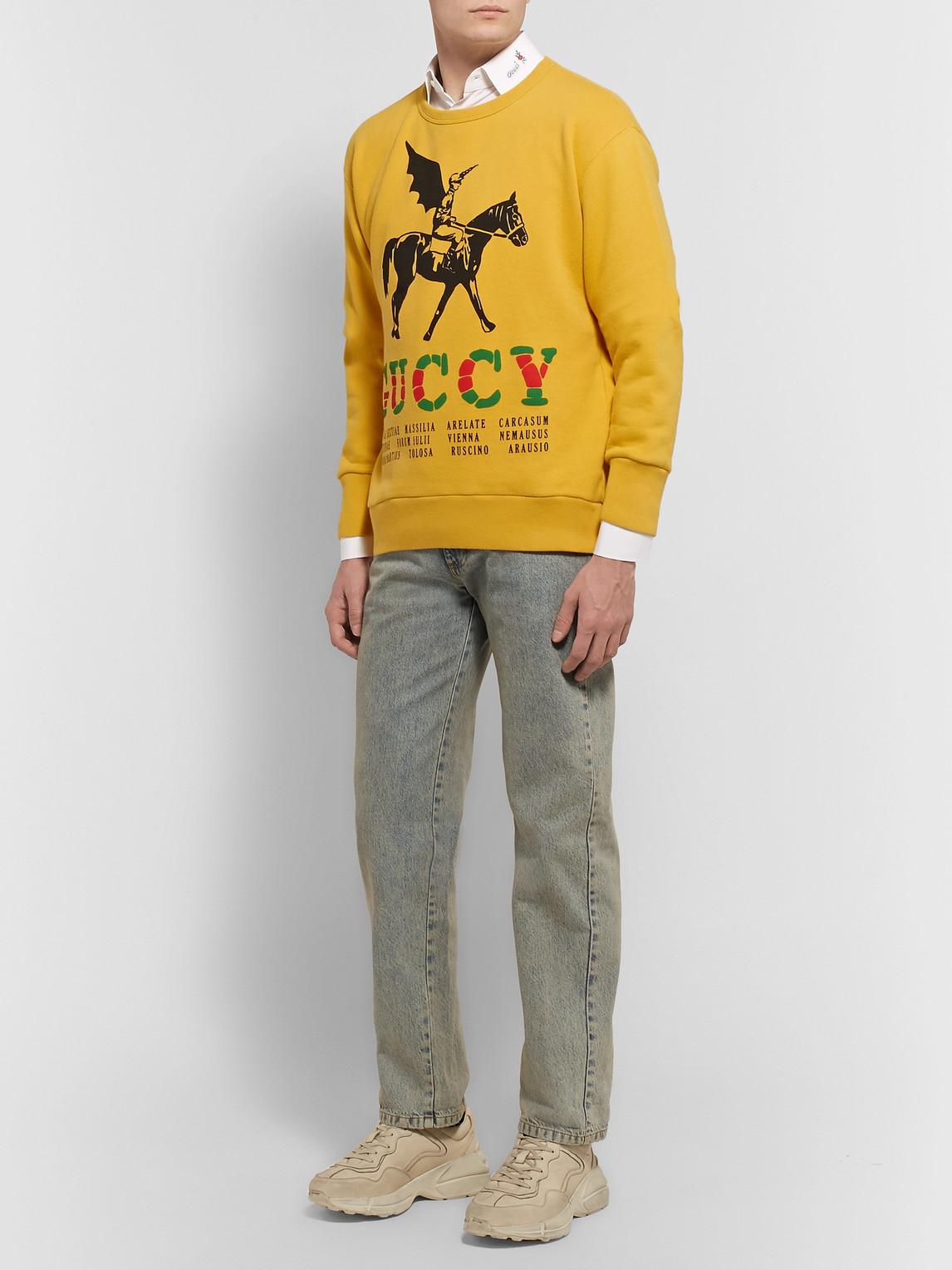 Gucci T-shirts PRINTED LOOPBACK COTTON-JERSEY SWEATSHIRT