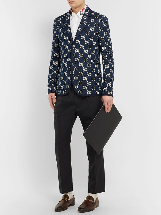 Gucci Navy Logo-Jacquard Cotton Blazer