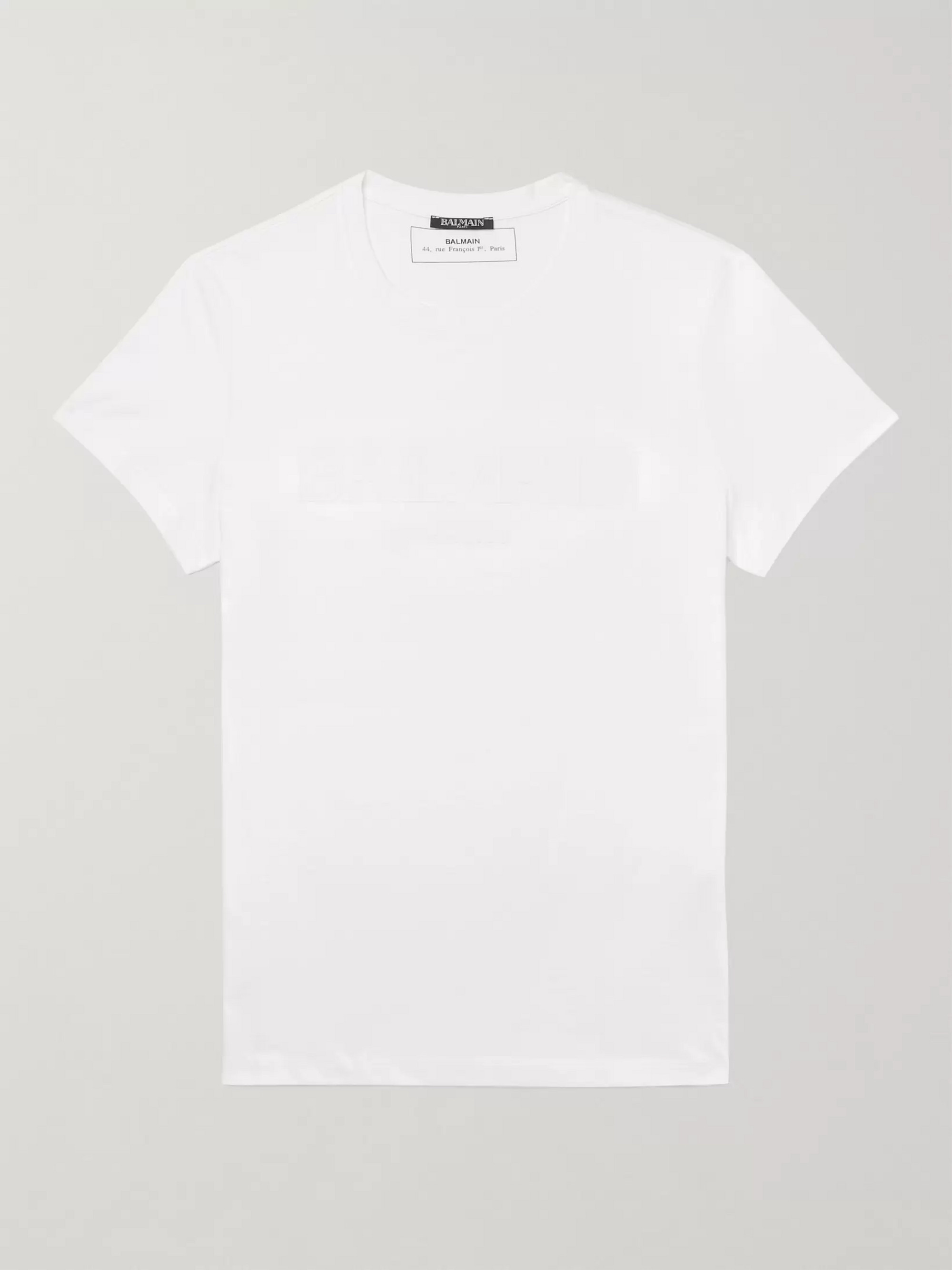 Balmain Slim-Fit Logo-Embossed Cotton-Jersey T-Shirt