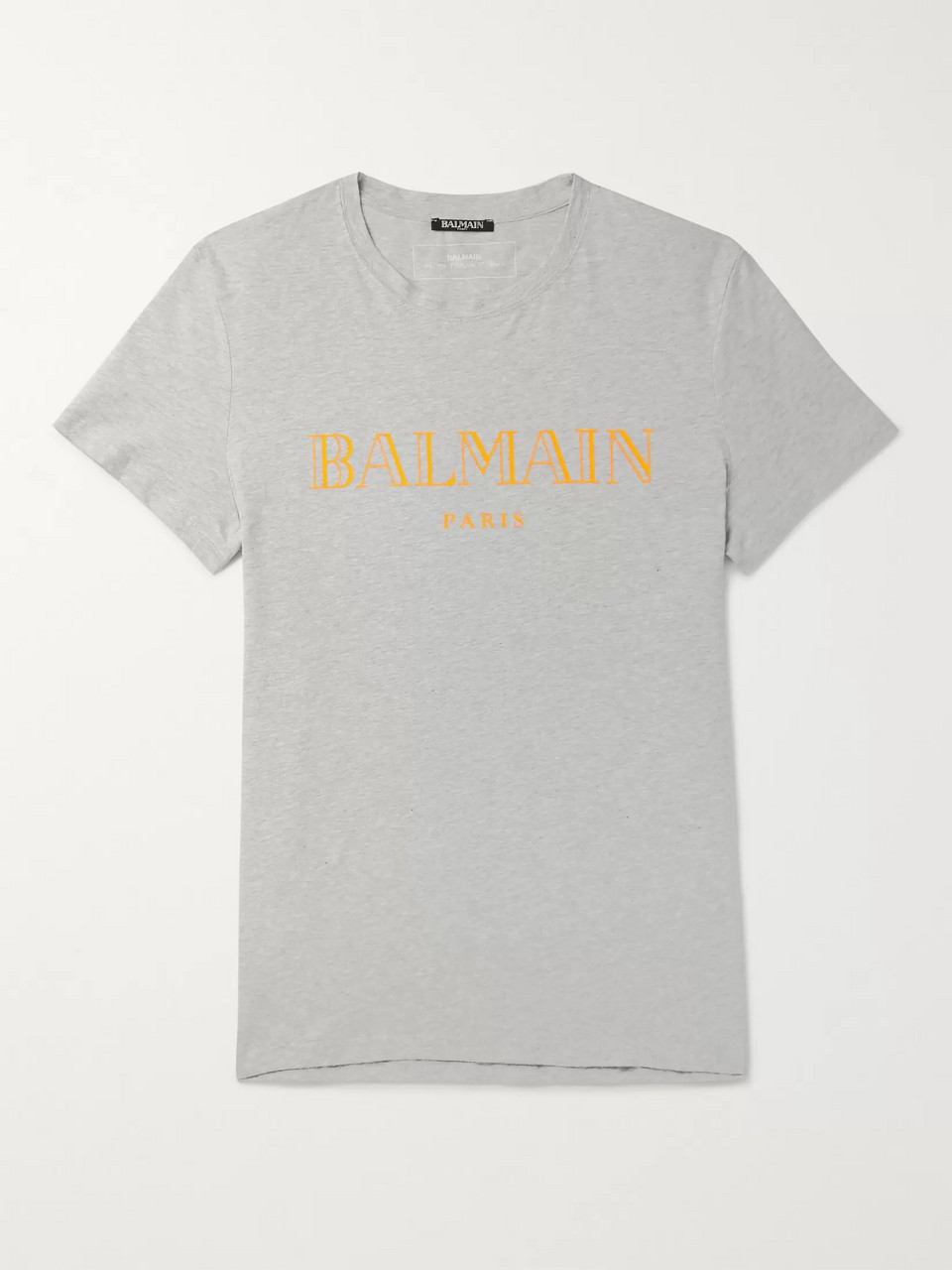 Balmain Slim-Fit Logo-Print Mélange Cotton-Jersey T-Shirt