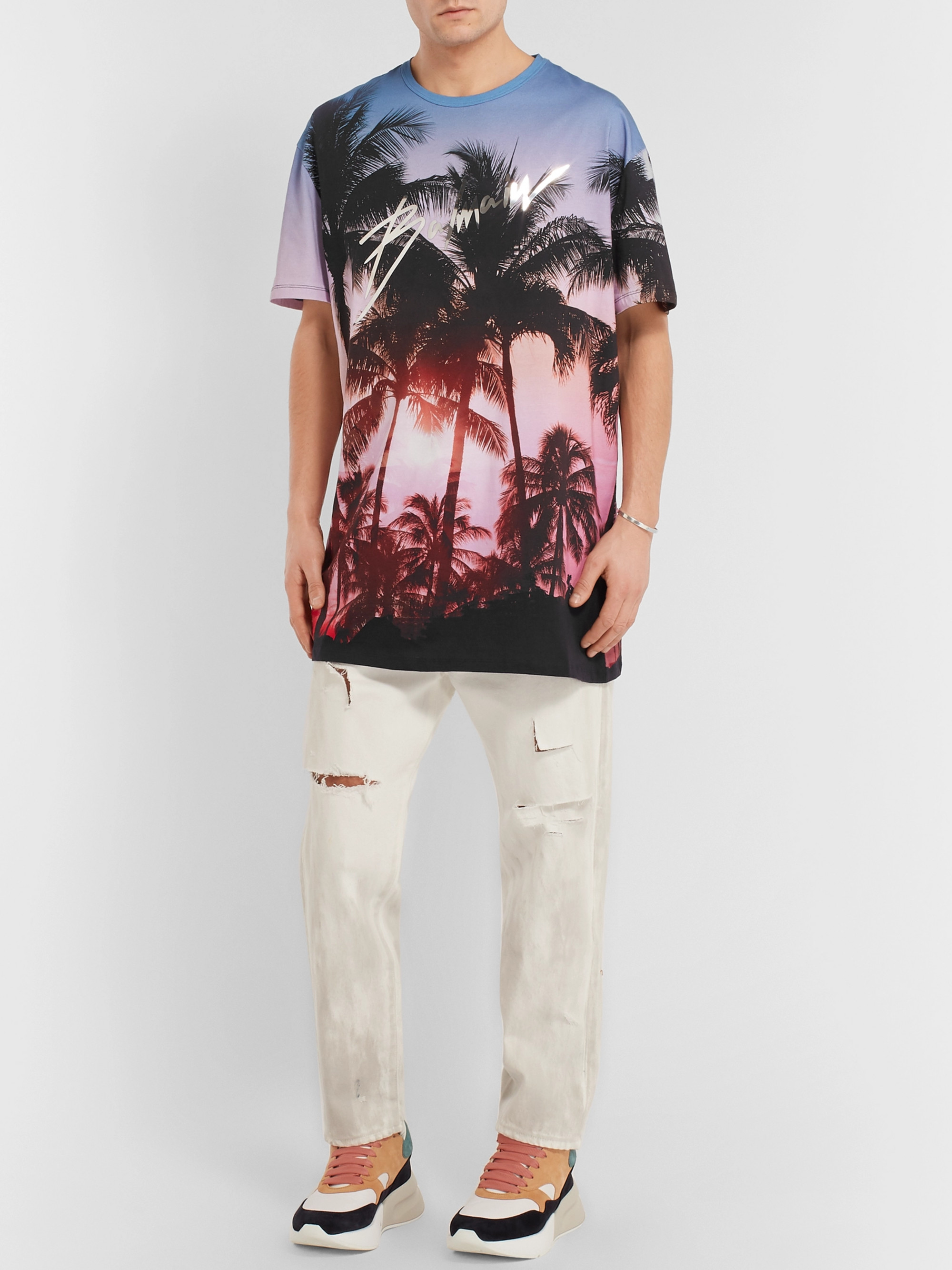 Balmain Oversized Printed Cotton-Jersey T-Shirt