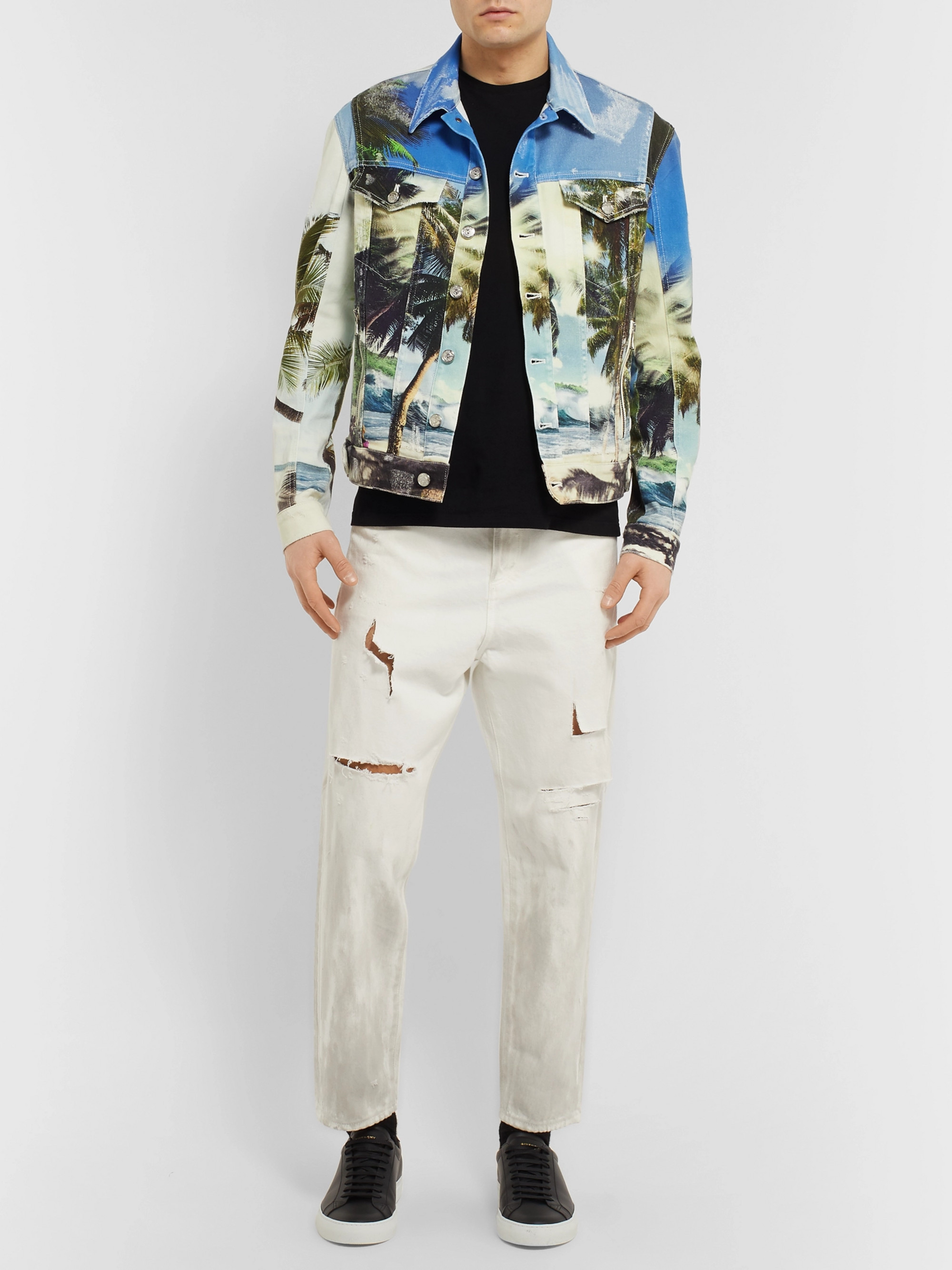 Balmain Printed Distressed Denim Jacket