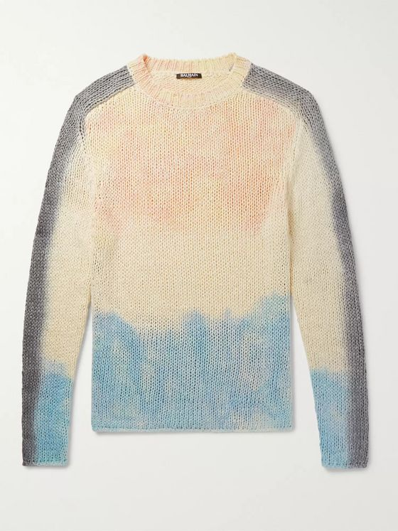 BALMAIN Slim-Fit Tie-Dyed Silk and Linen-Blend Sweater