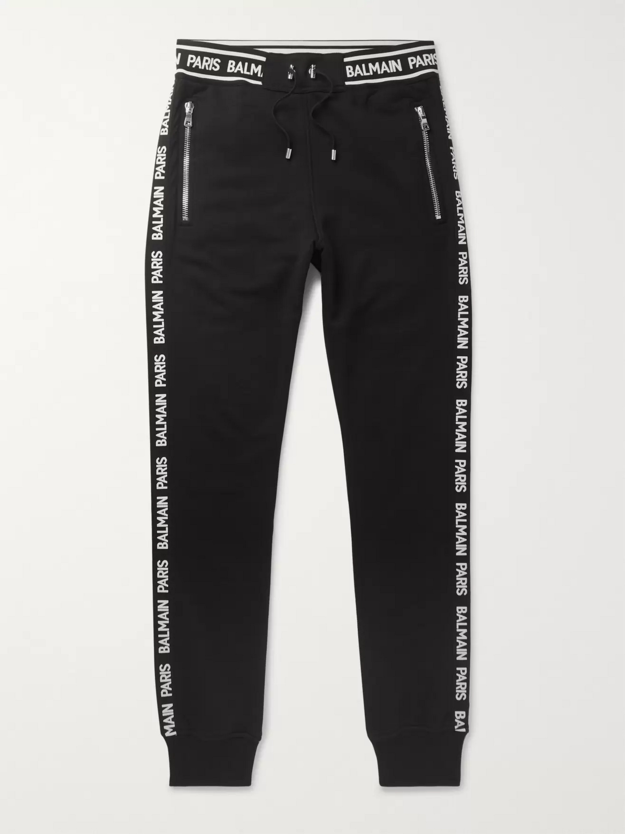 Balmain Slim-Fit Tapered Logo-Trimmed Loopback Cotton-Jersey Sweatpants