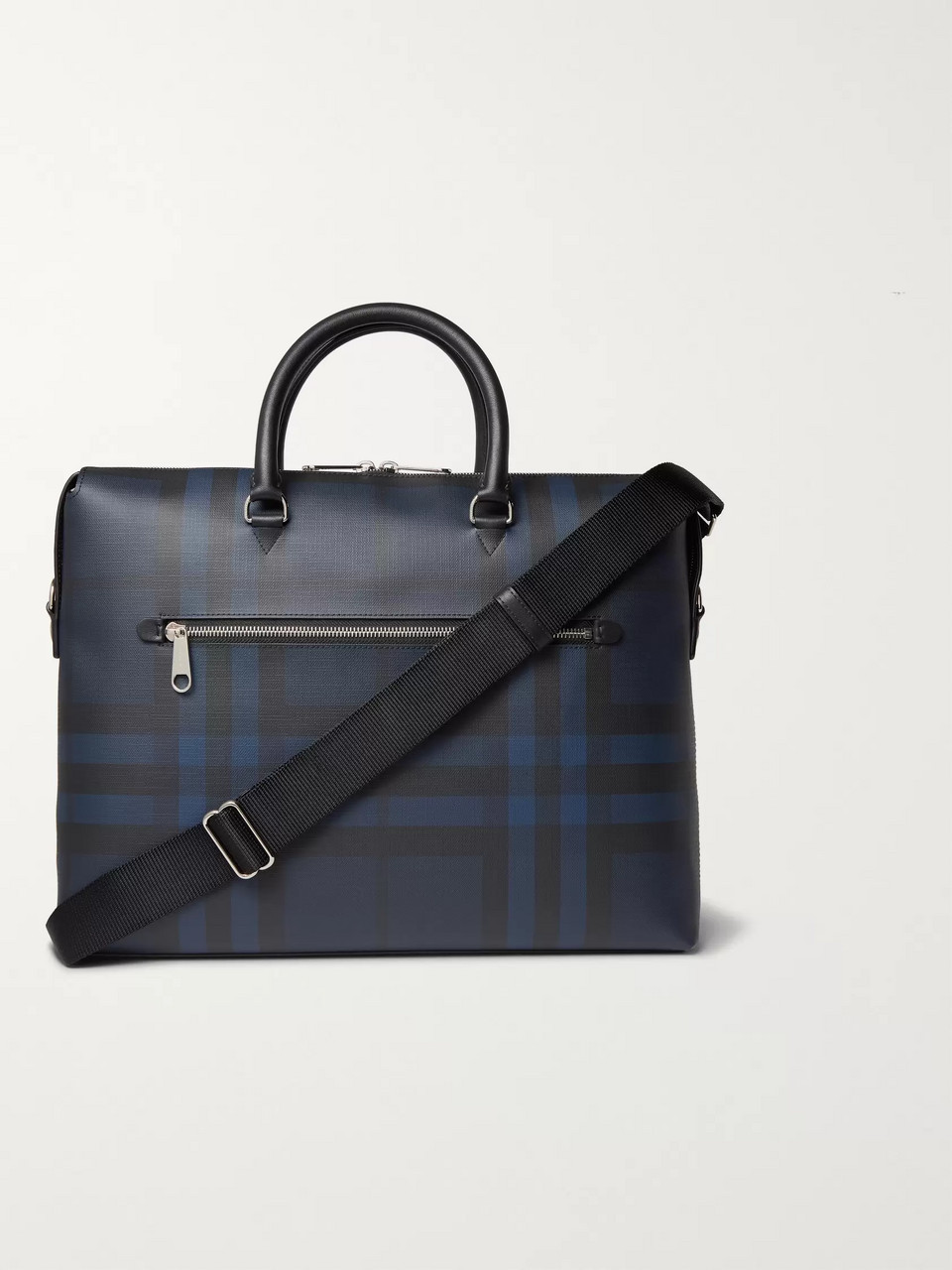 Burberry Checked Textured-Leather Briefcase