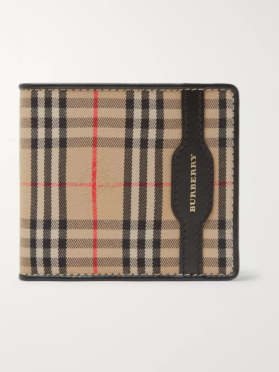 Burberry Checked Twill and Leather Billfold Wallet