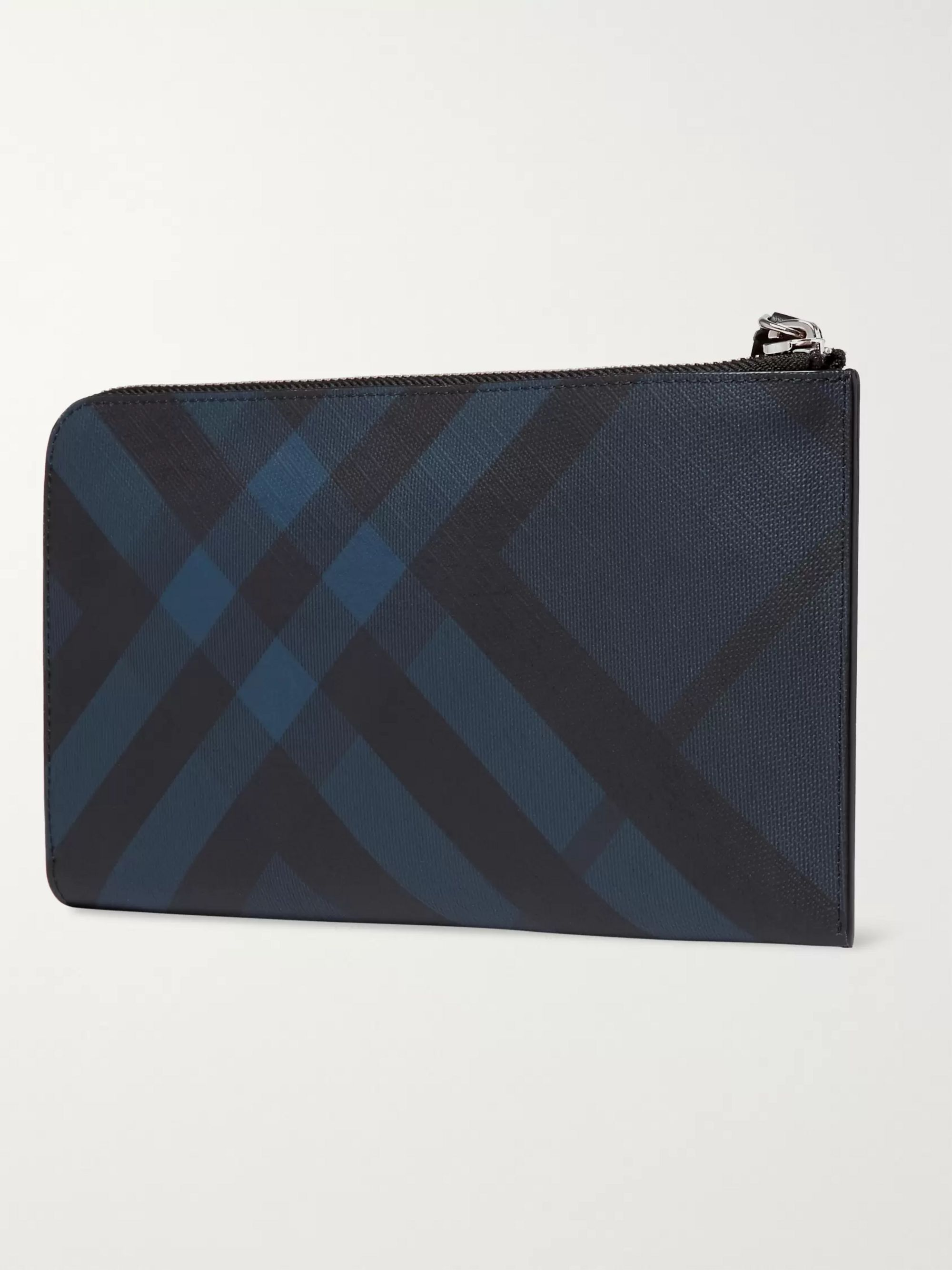 Burberry Checked Coated-Canvas and Leather Zip-Around Travel Wallet
