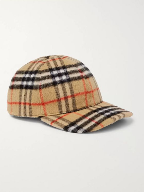 Burberry Checked Brushed-Wool Baseball Cap