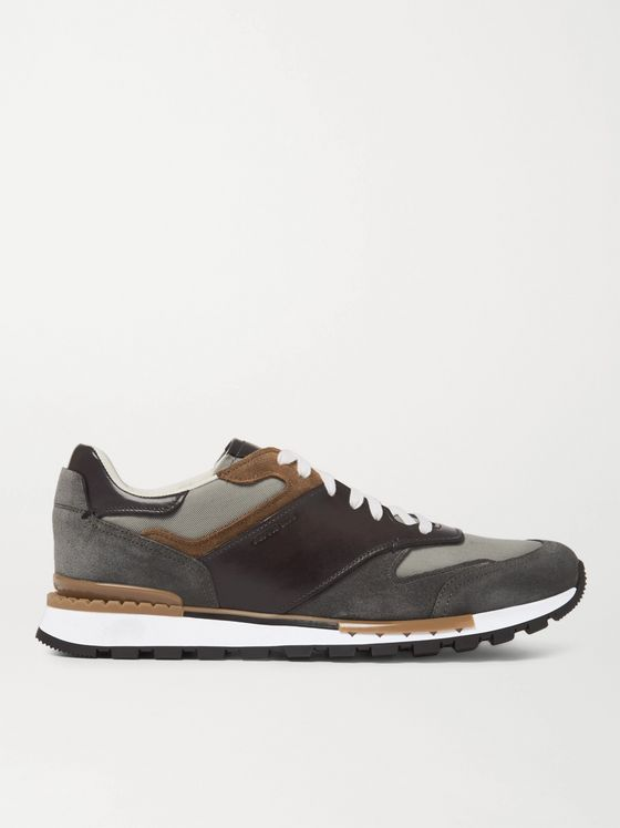 BERLUTI Run Track Leather, Suede and Mesh Sneakers