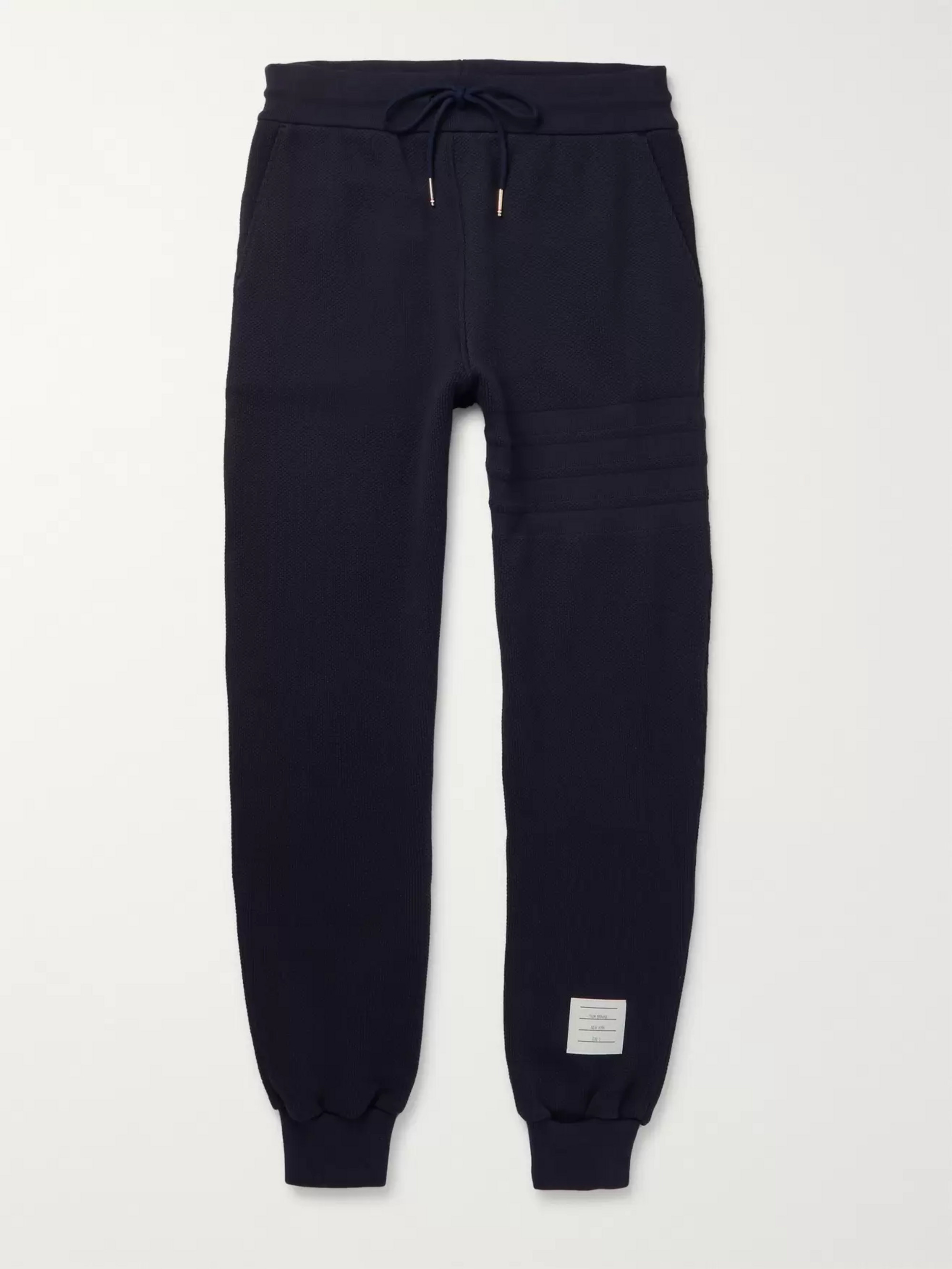 Thom Browne Slim-Fit Tapered Waffle-Knit Cotton Sweatpants
