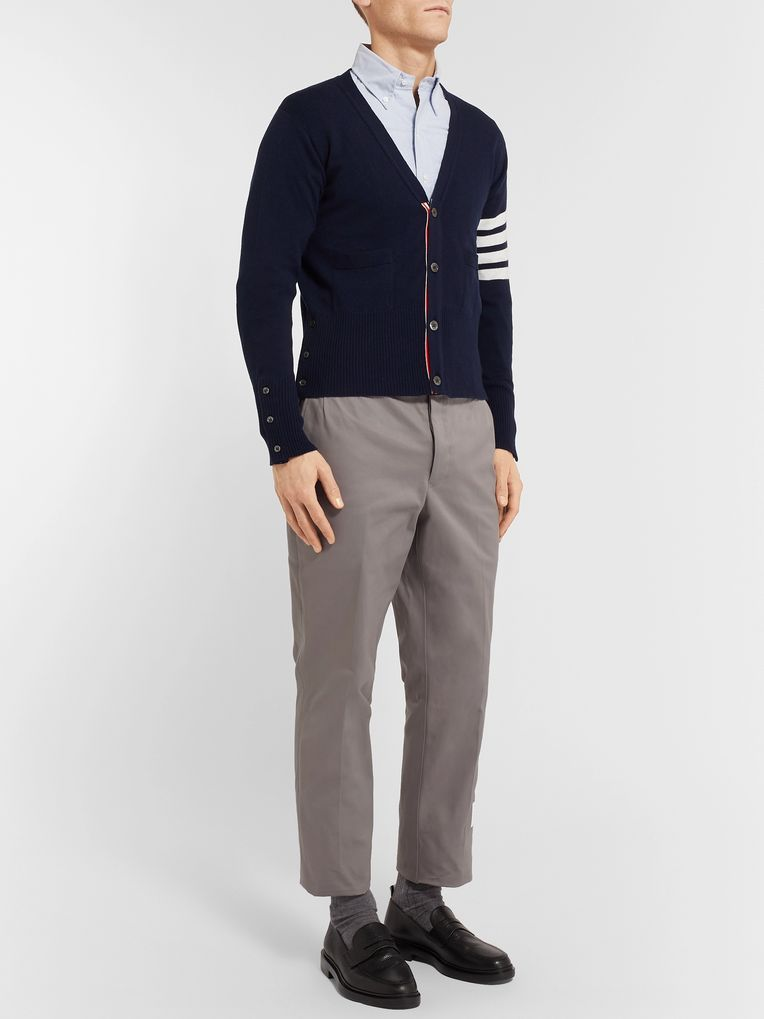 Thom Browne Grey Cotton-Twill Trousers