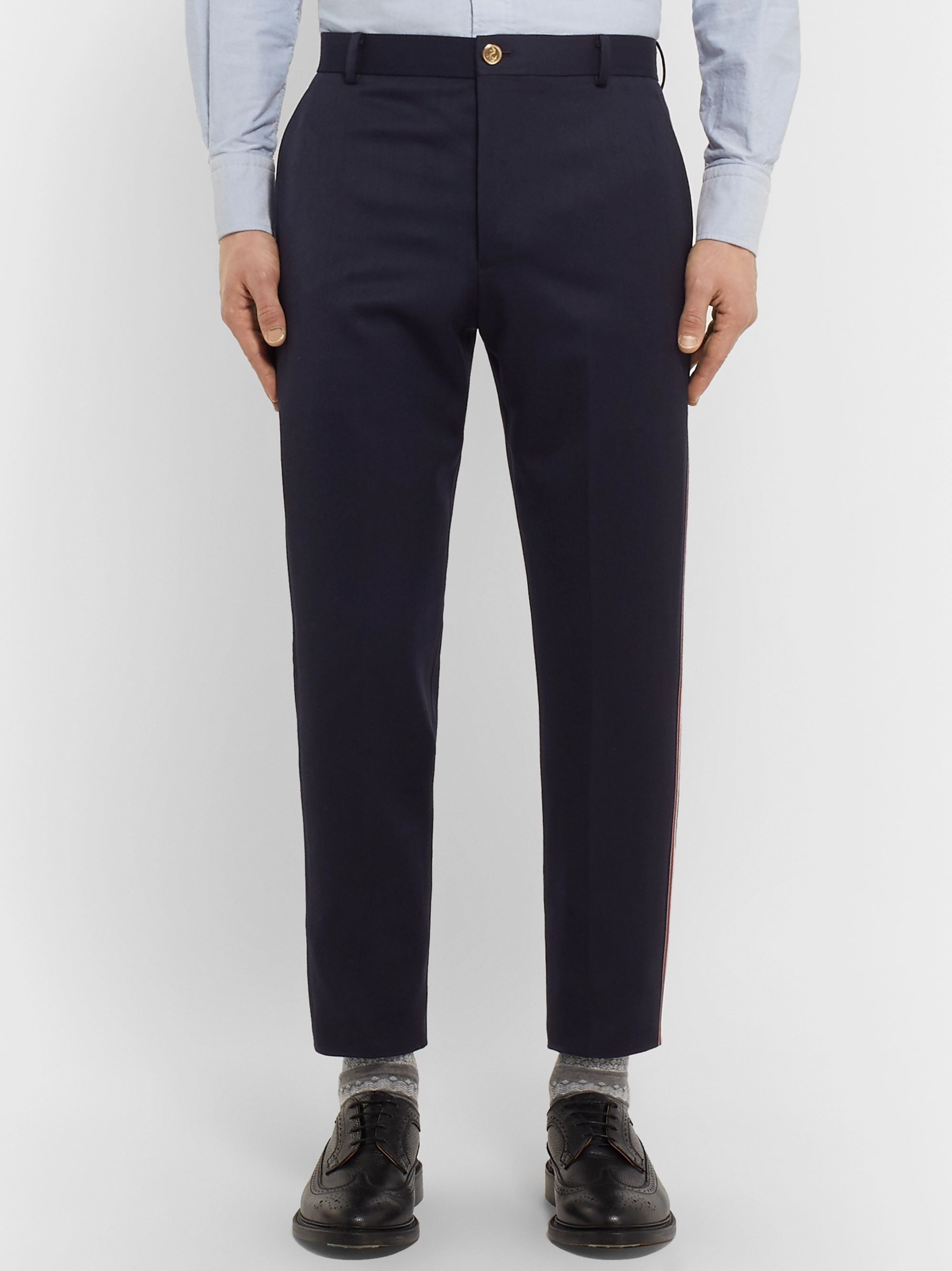 Thom Browne Navy Tapered Striped Wool and Cotton-Blend Trousers