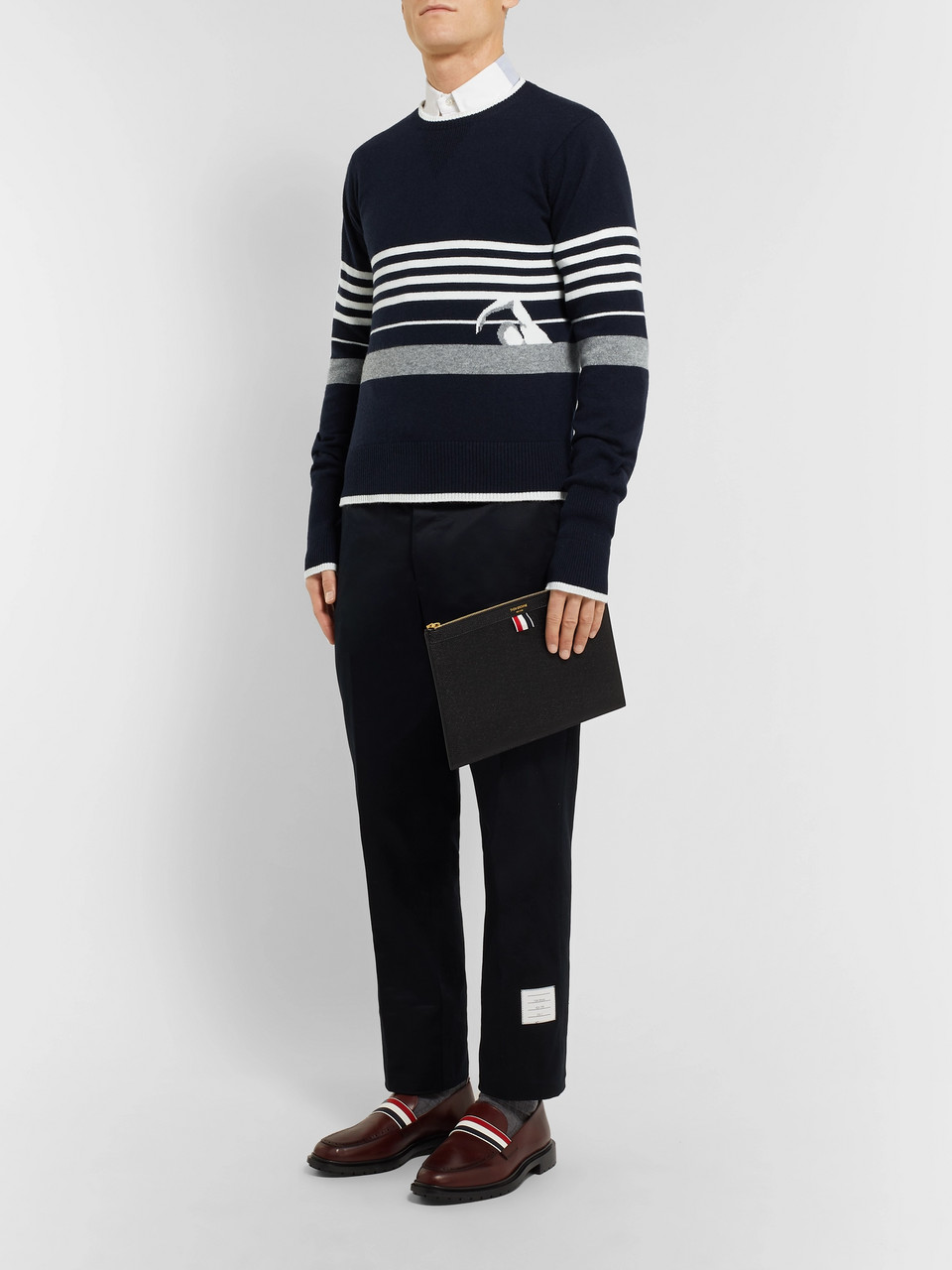 8377c520ce6f Thom Browne Striped Intarsia Cashmere Sweater
