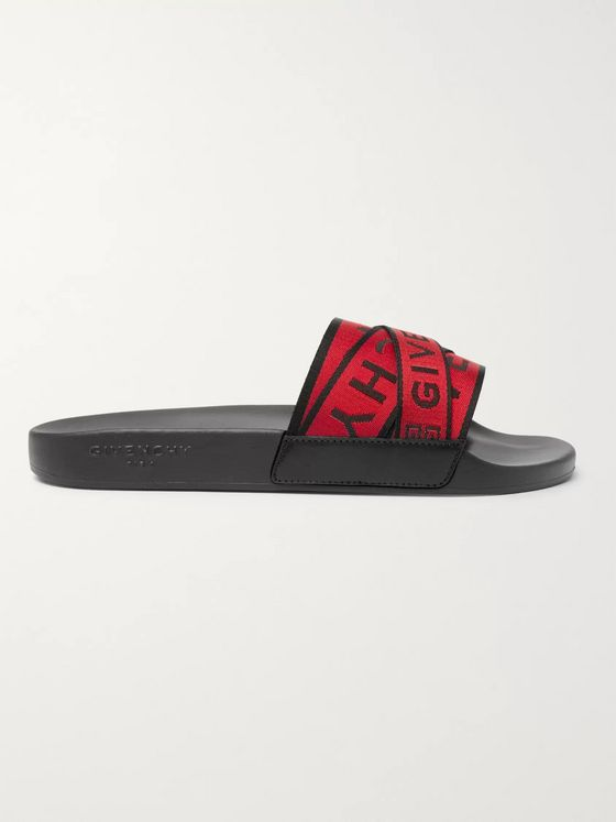 Givenchy Logo-Jacquard Webbing, Leather and Rubber Slides