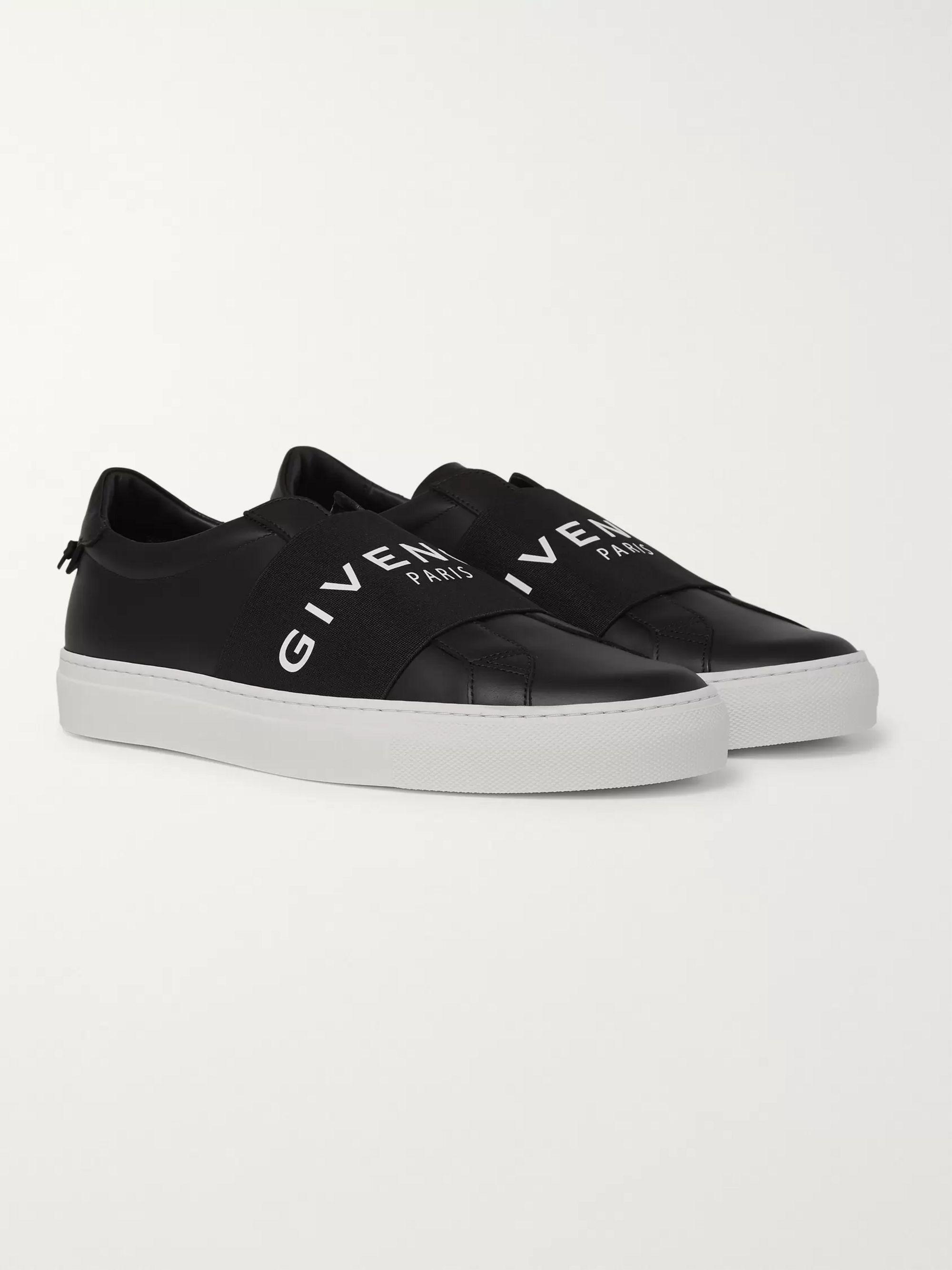 Urban Street Logo Print Leather Slip On Sneakers