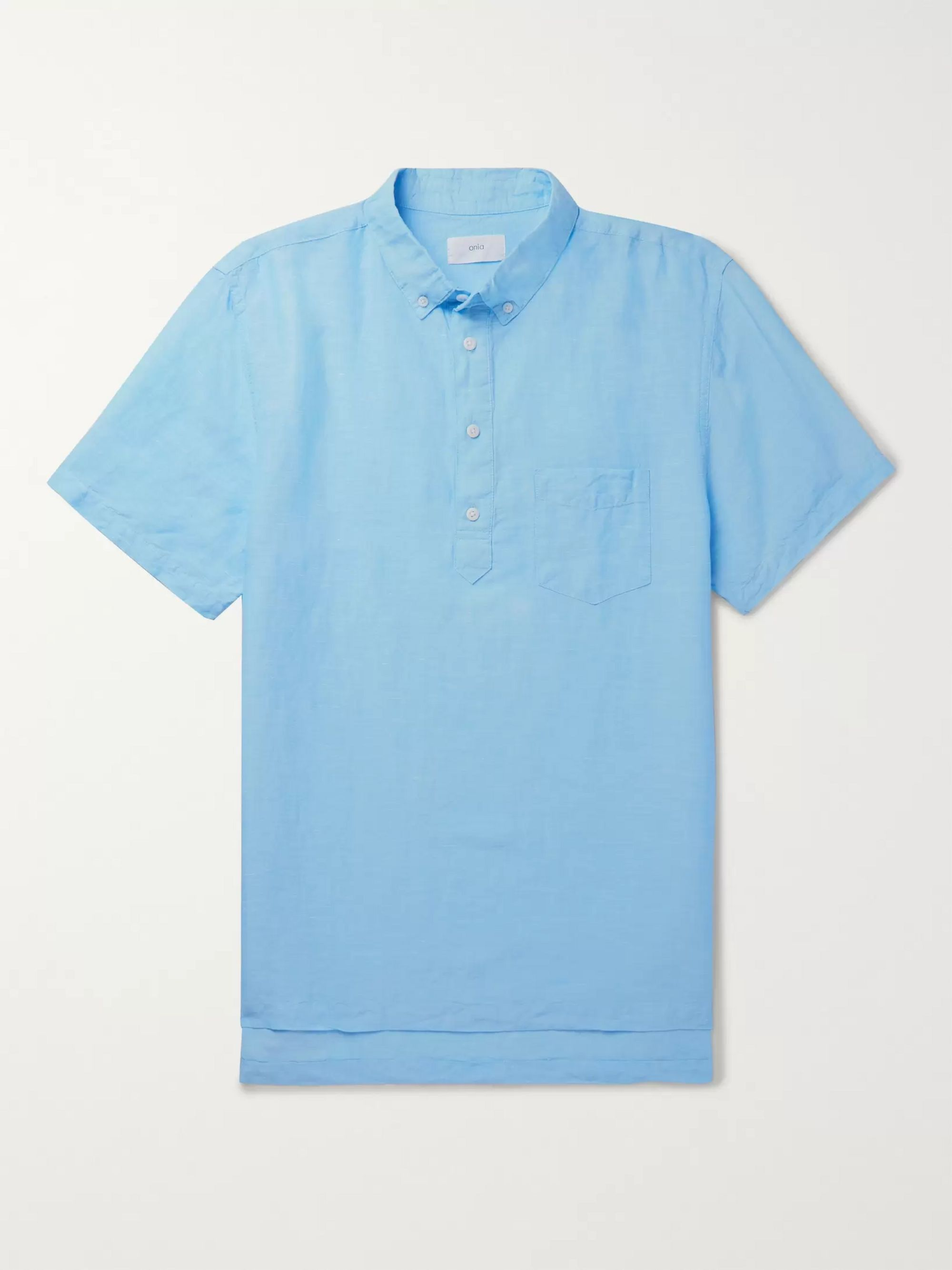 Onia Button-Down Collar Slub Linen and Tencel-Blend Shirt