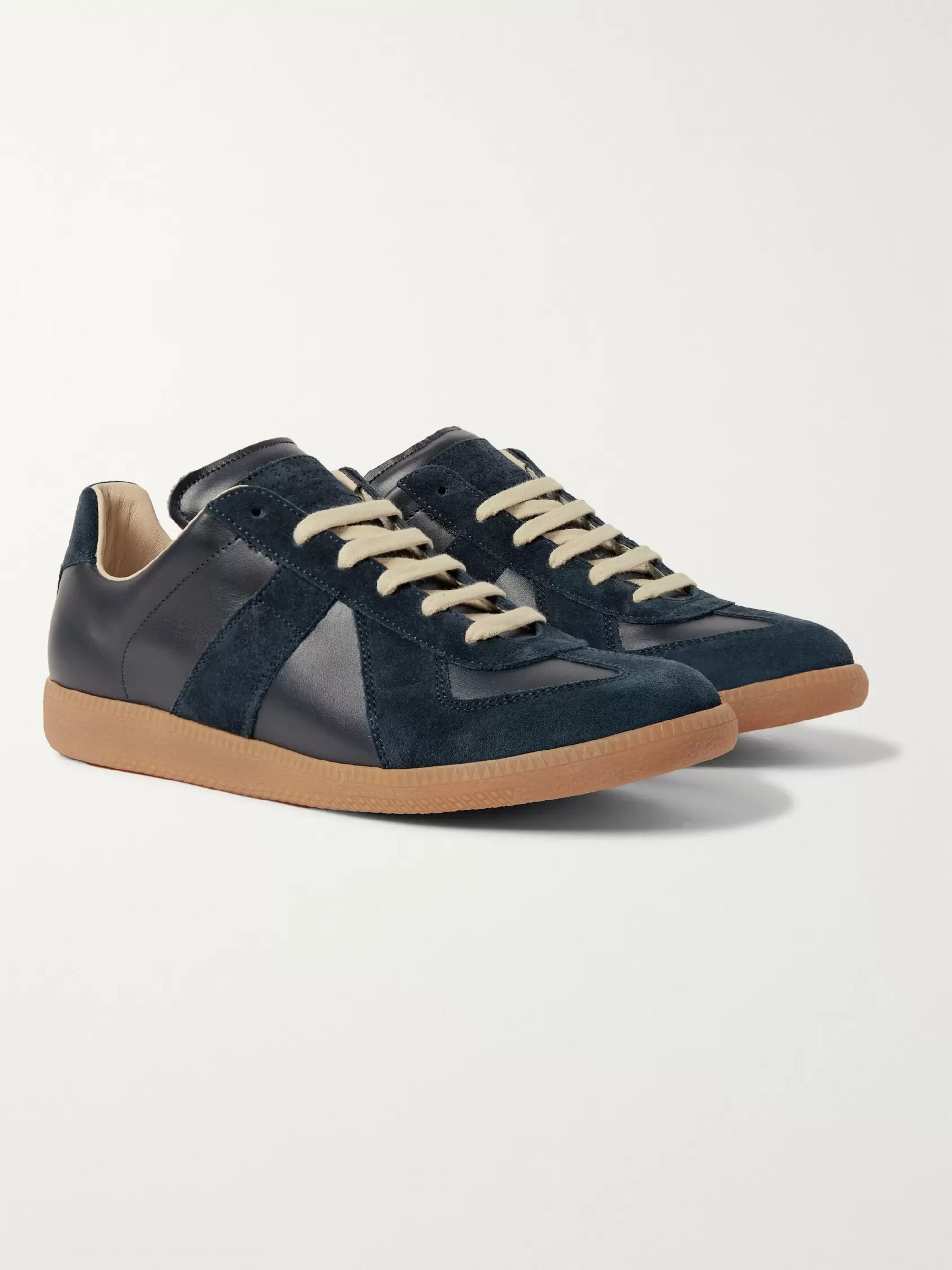 Navy Replica Leather and Suede Sneakers