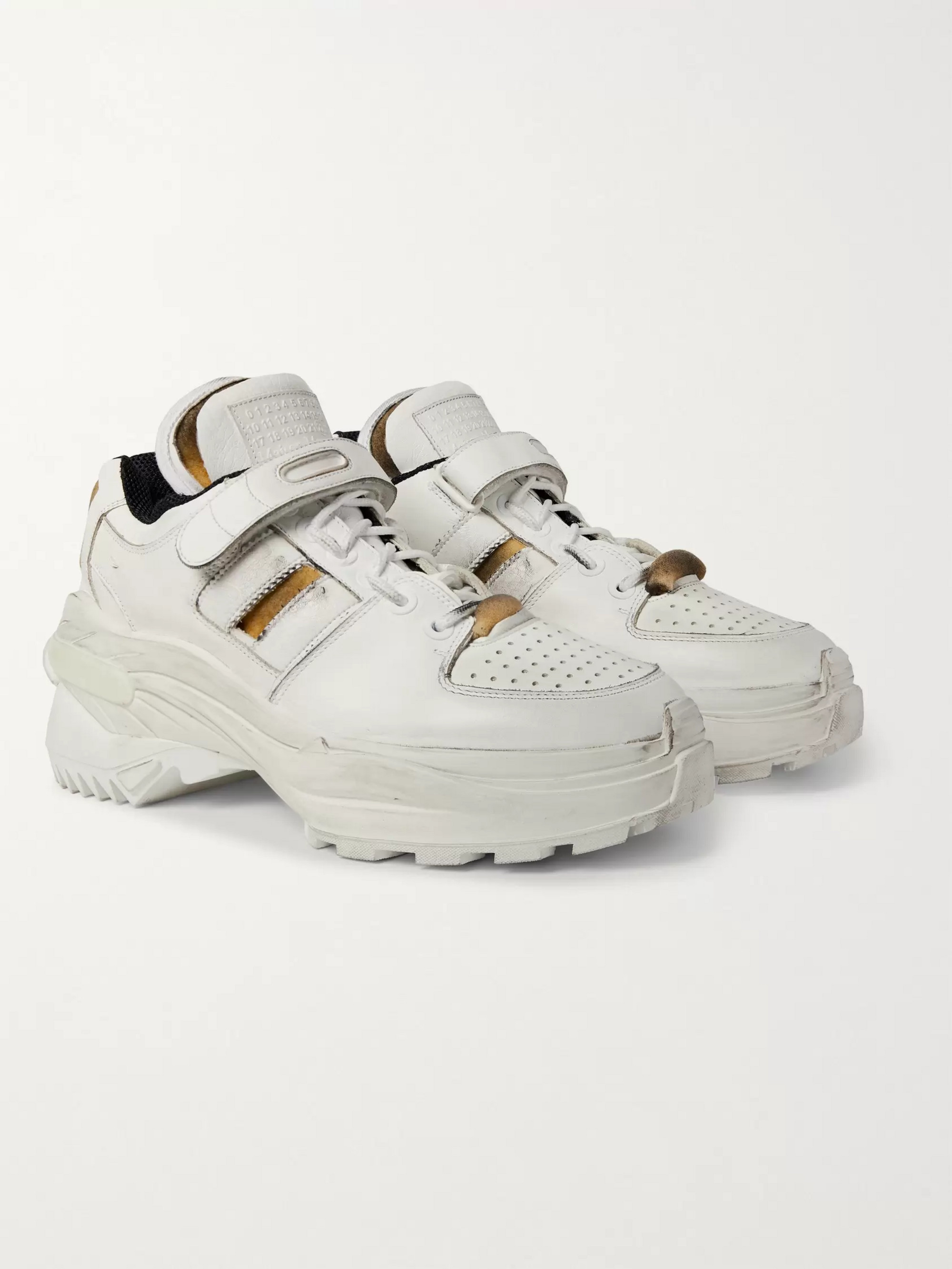 Maison Margiela Distressed Leather Sneakers