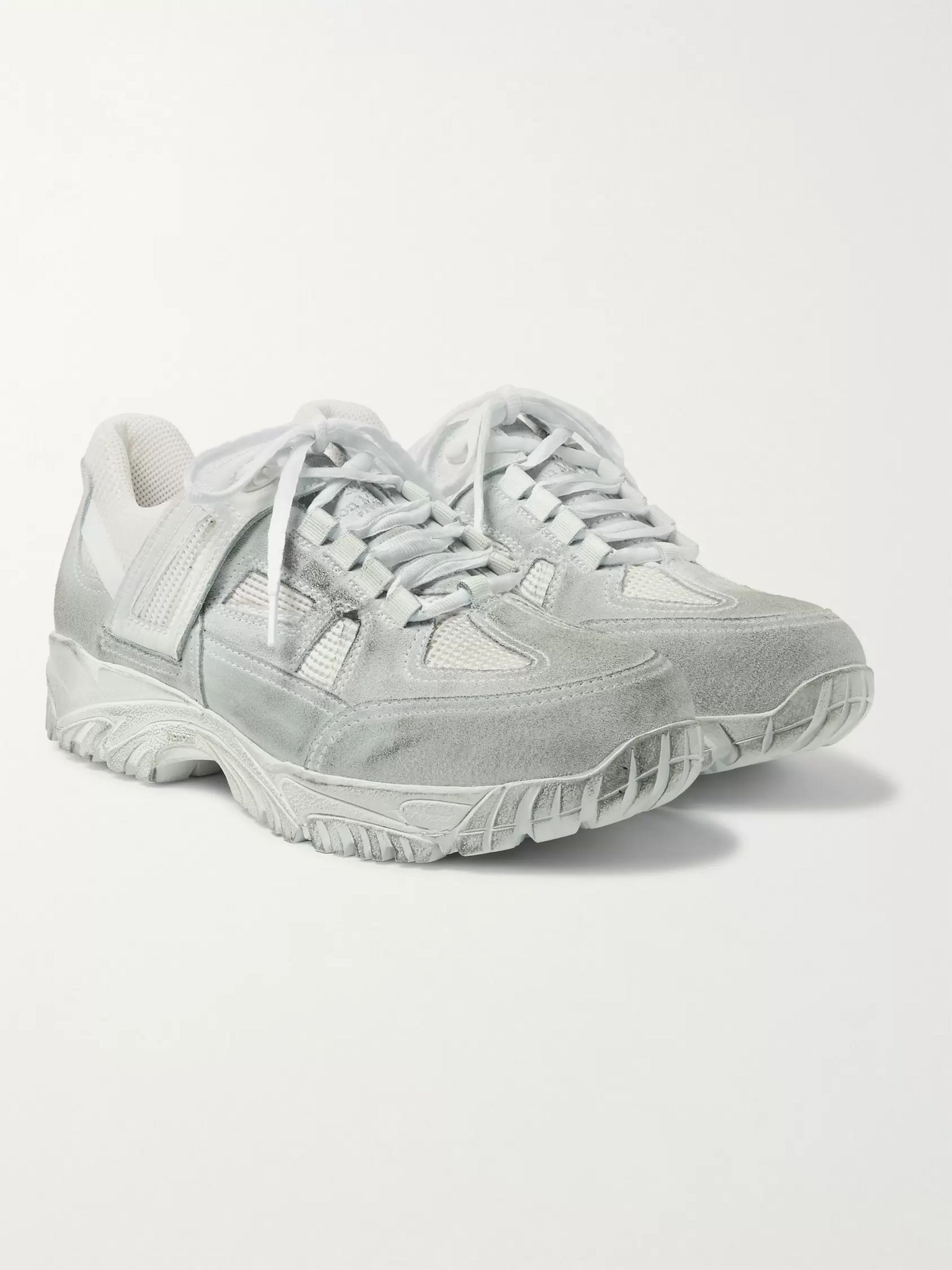 Maison Margiela Distressed Leather, Suede and Mesh Sneakers