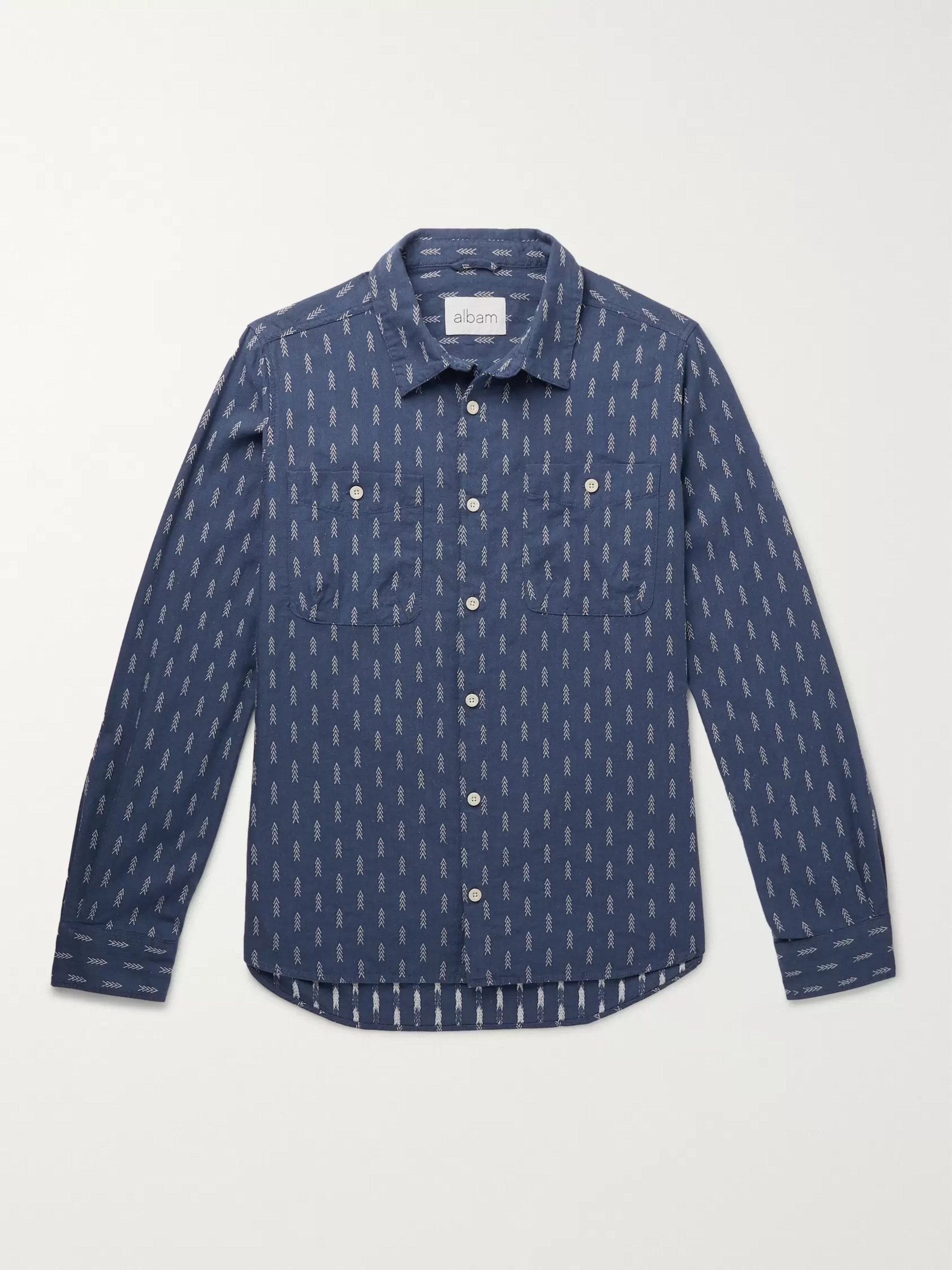 Albam Embroidered Cotton-Chambray Shirt