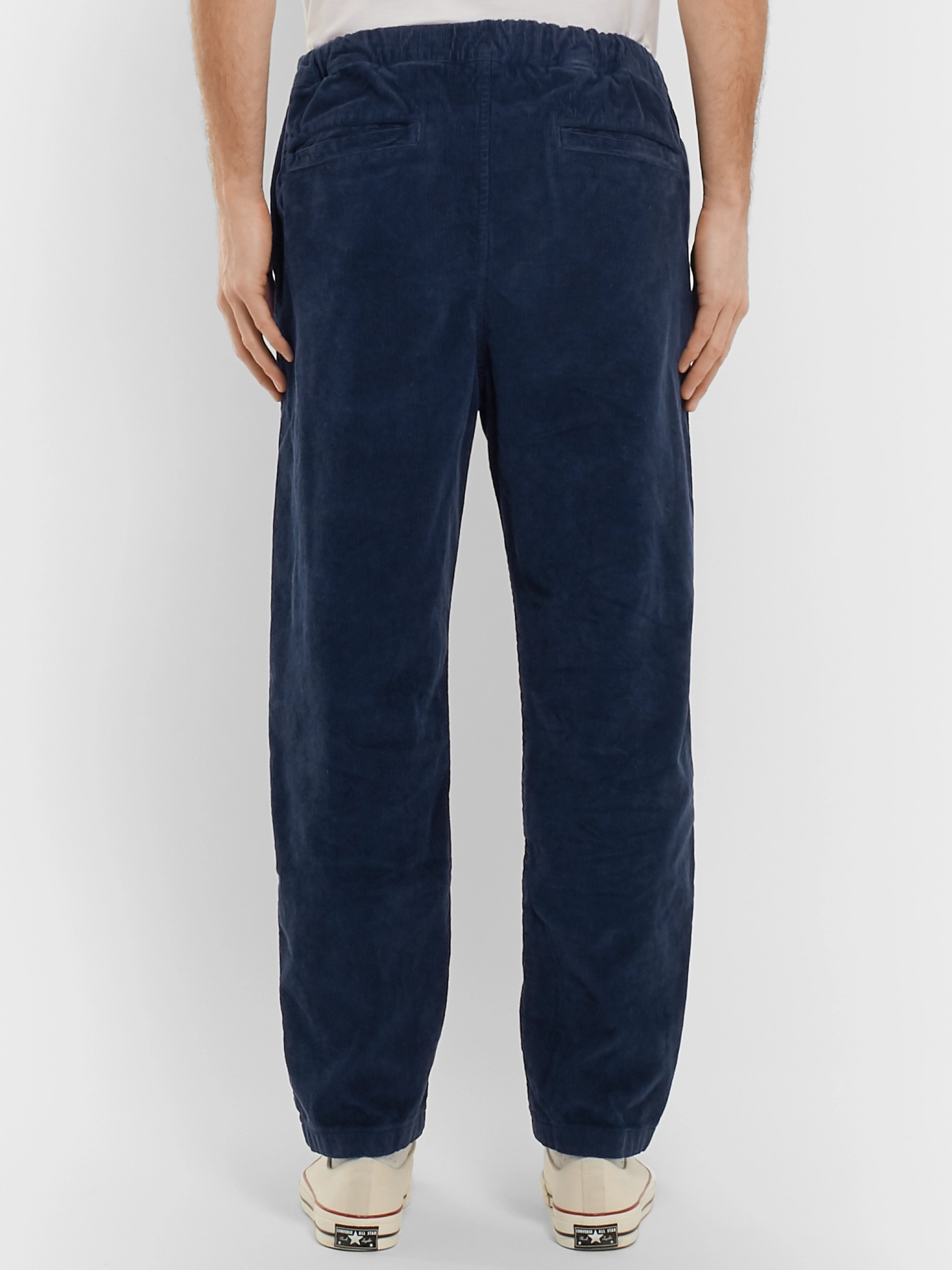 Albam Navy Hendry Tapered Cotton-Corduroy Drawstring Trousers
