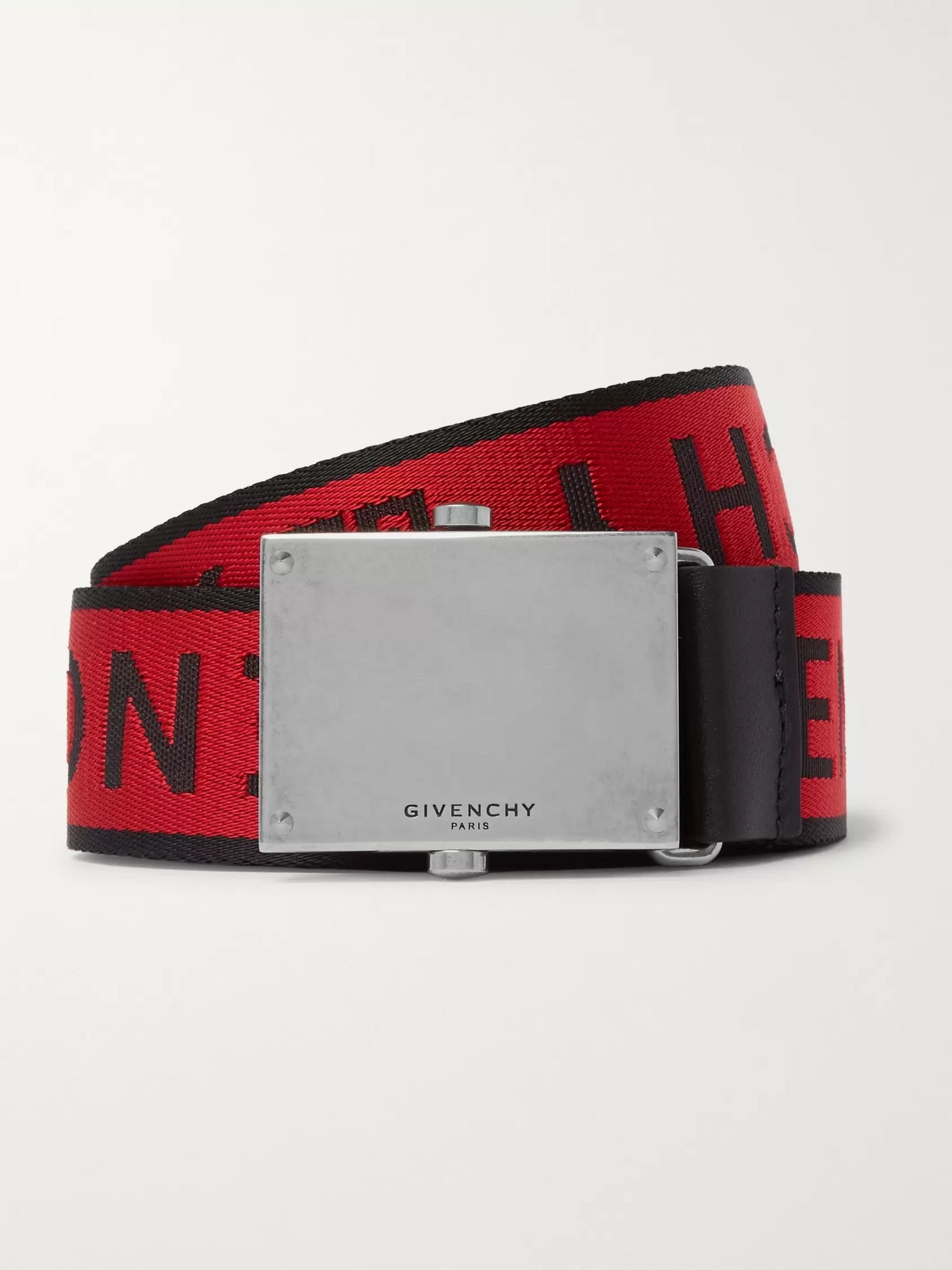 Givenchy 3.5cm Red Leather-Trimmed Logo-Jacquard Webbing Belt