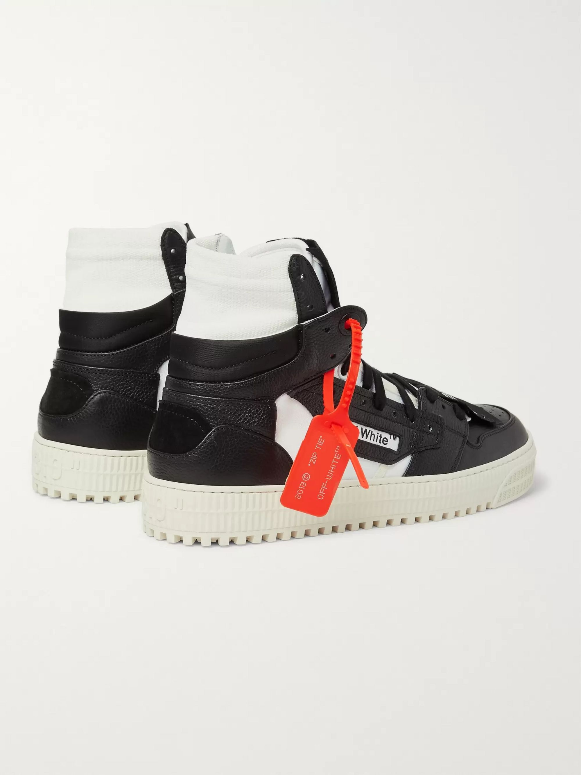 Off-White Off-Court Full-Grain Leather and Canvas High-Top Sneakers