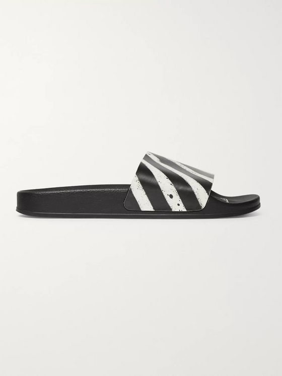 Off-White Stripeed Rubber Slides