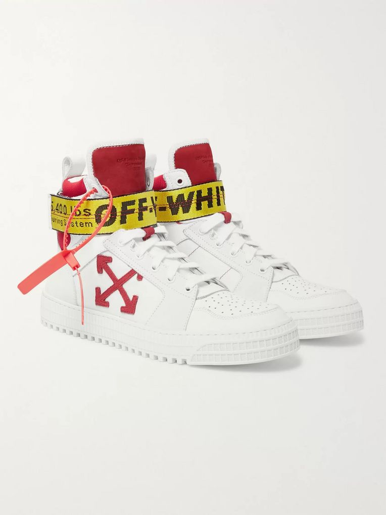 Off-White Industrial Full-Grain Leather, Suede and Ripstop High-Top Sneakers