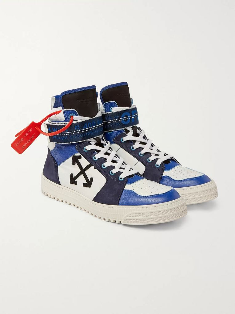 Off-White Industrial Panelled Ripstop, Suede and Leather High-Top Sneakers