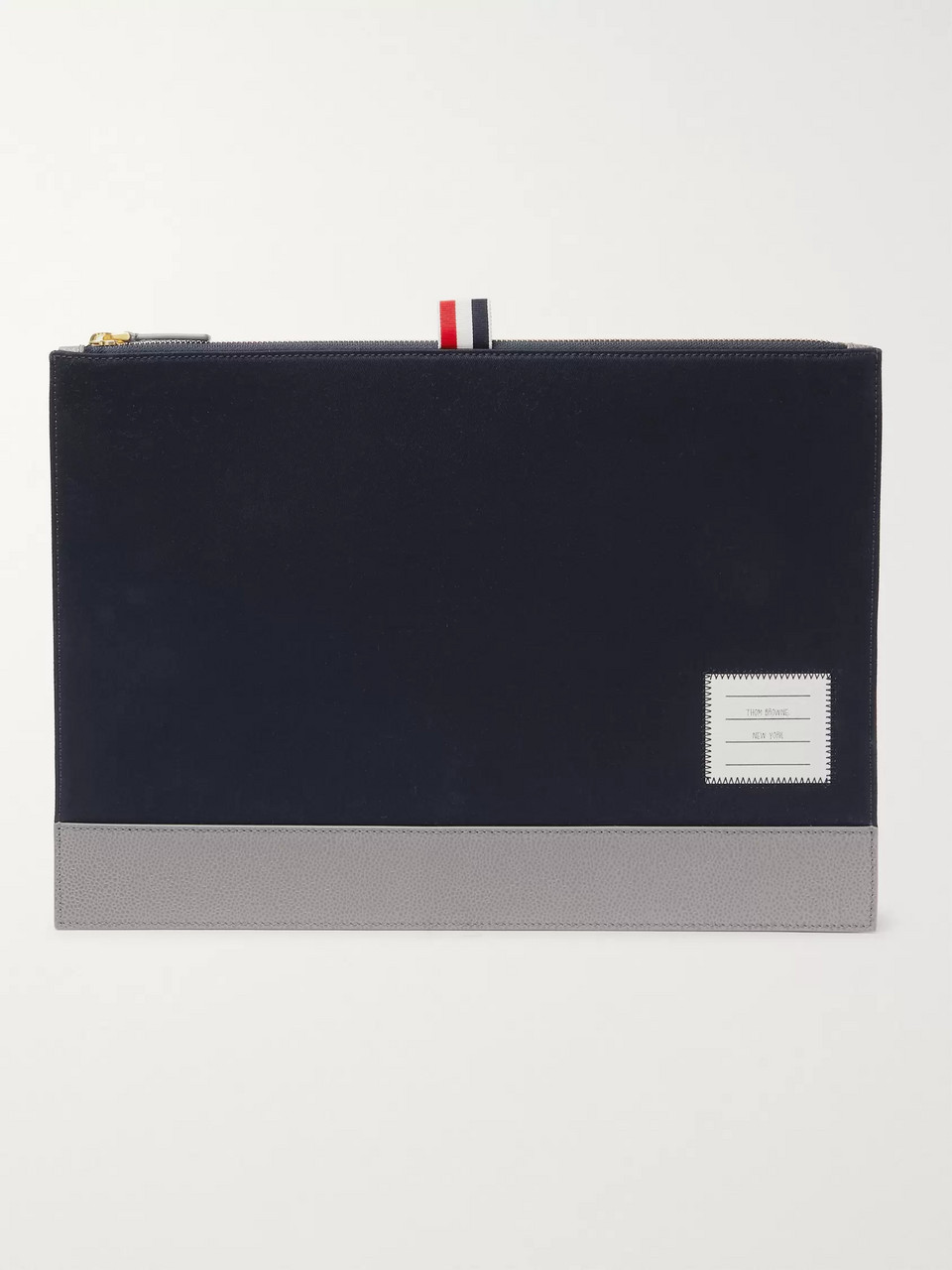 Thom Browne Pebble-Grain Leather-Trimmed Cotton-Twill Pouch