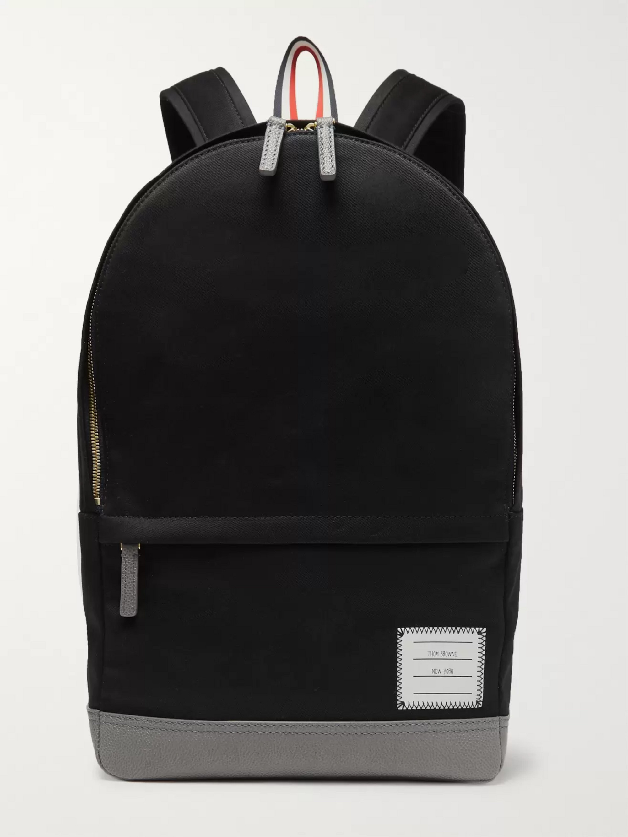 Thom Browne Striped Grosgrain-Trimmed Cotton-Twill and Leather Backpack