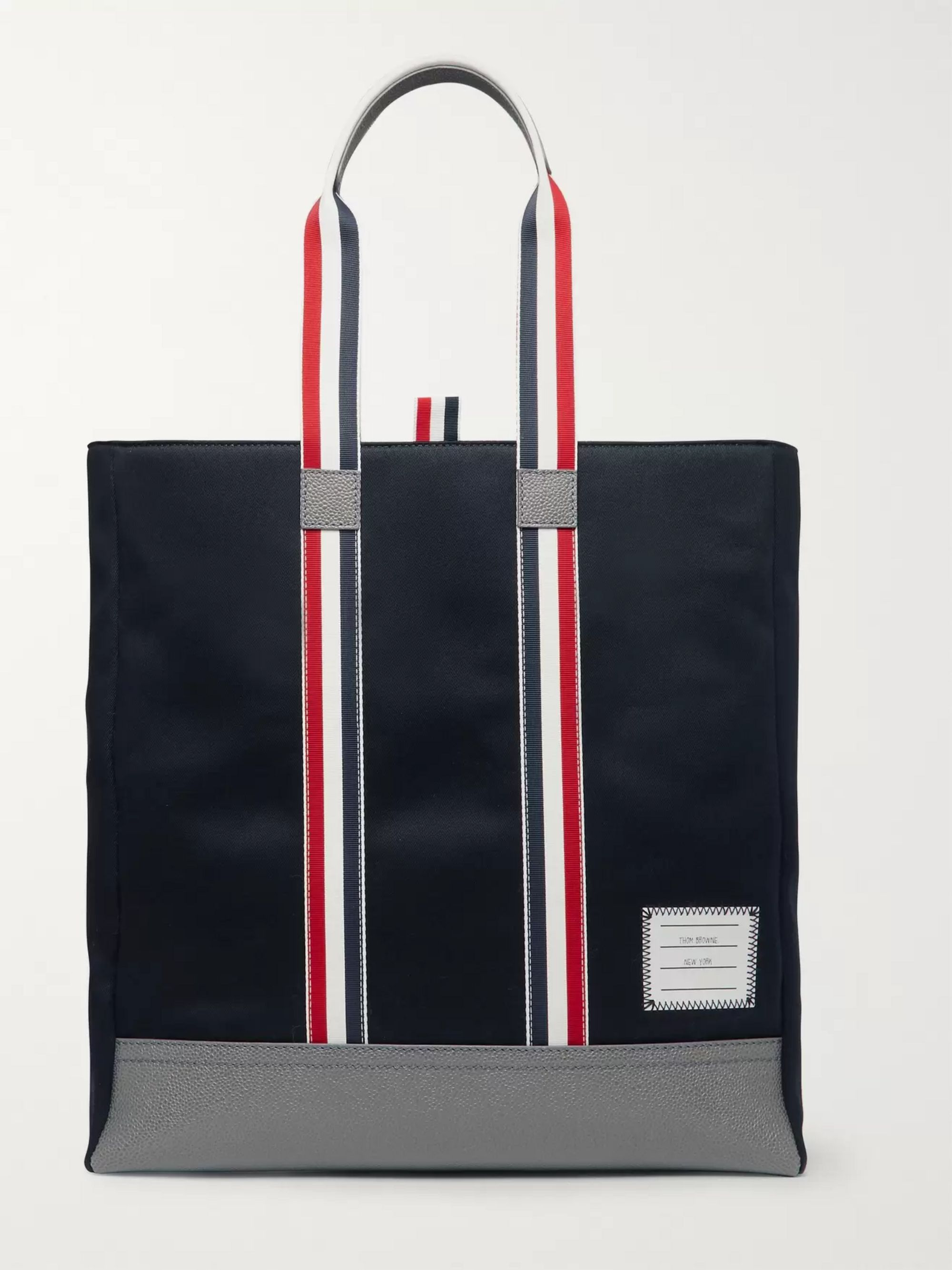 Thom Browne Leather-Trimmed Canvas Tote Bag