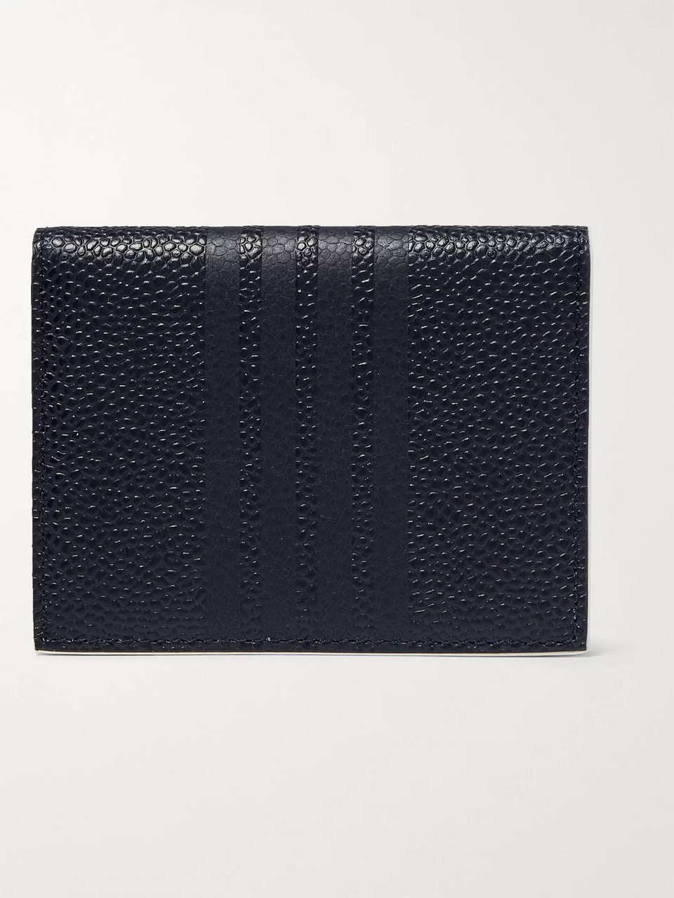 Thom Browne Grosgrain-Trimmed Pebble-Grain Leather Billfold Wallet