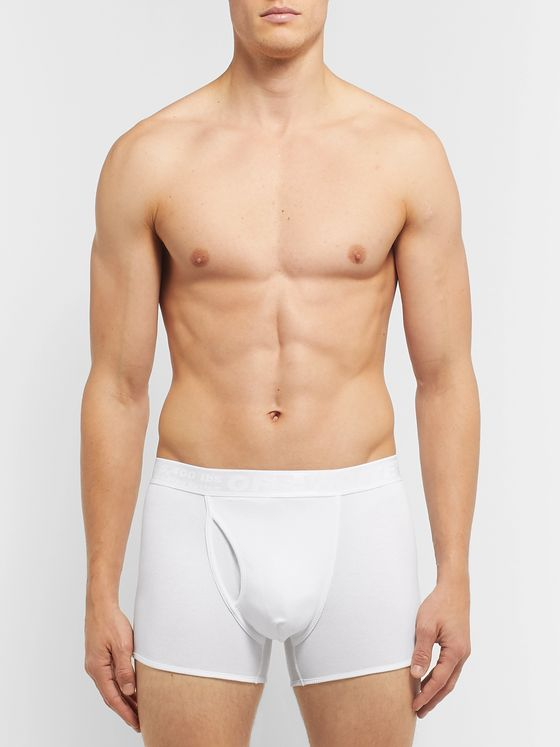 Off-White Three-Pack Ribbed Stretch-Cotton Boxer Briefs