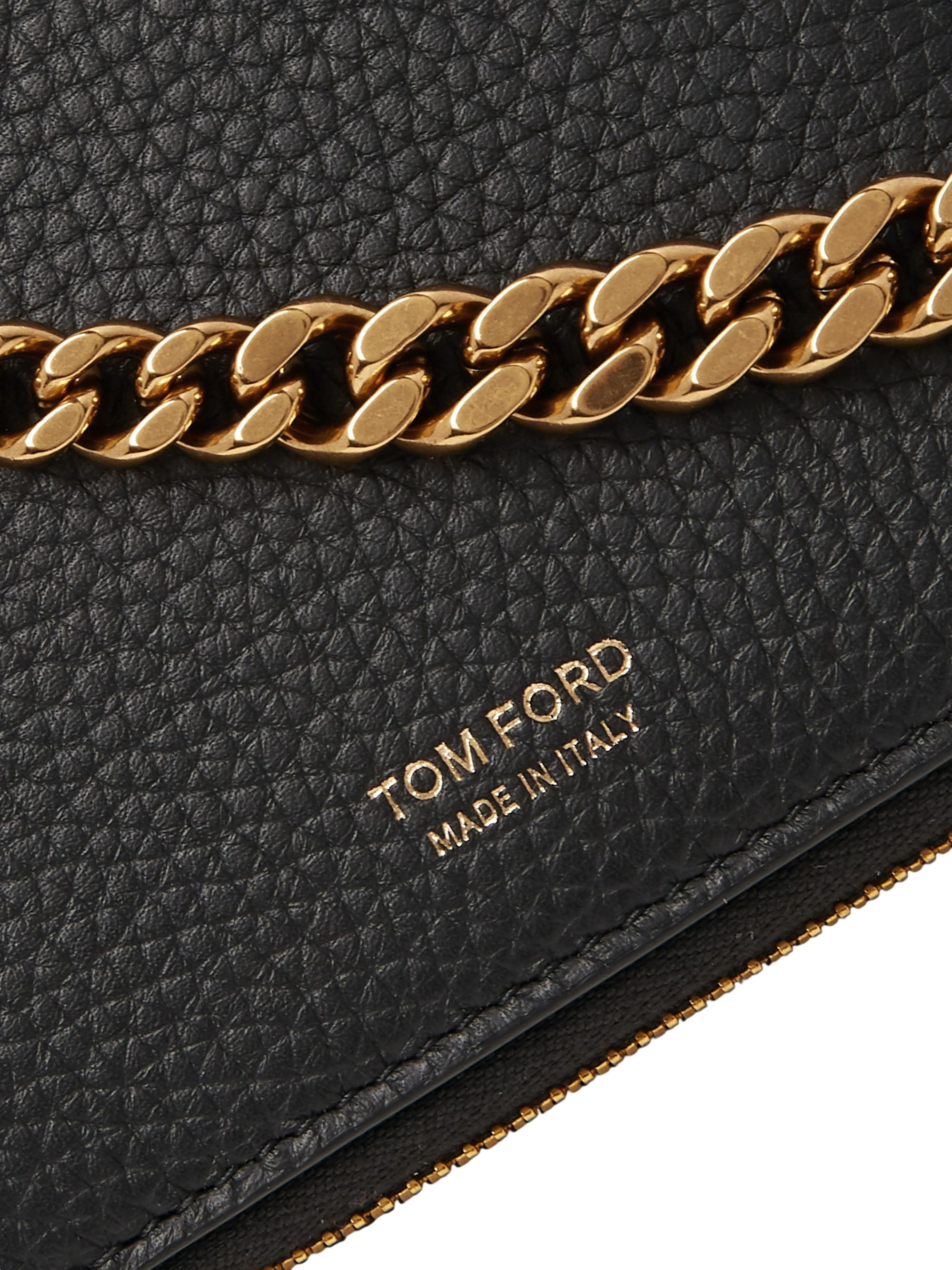 TOM FORD Chain-Embellished Full-Grain Leather Zip-Around Wallet