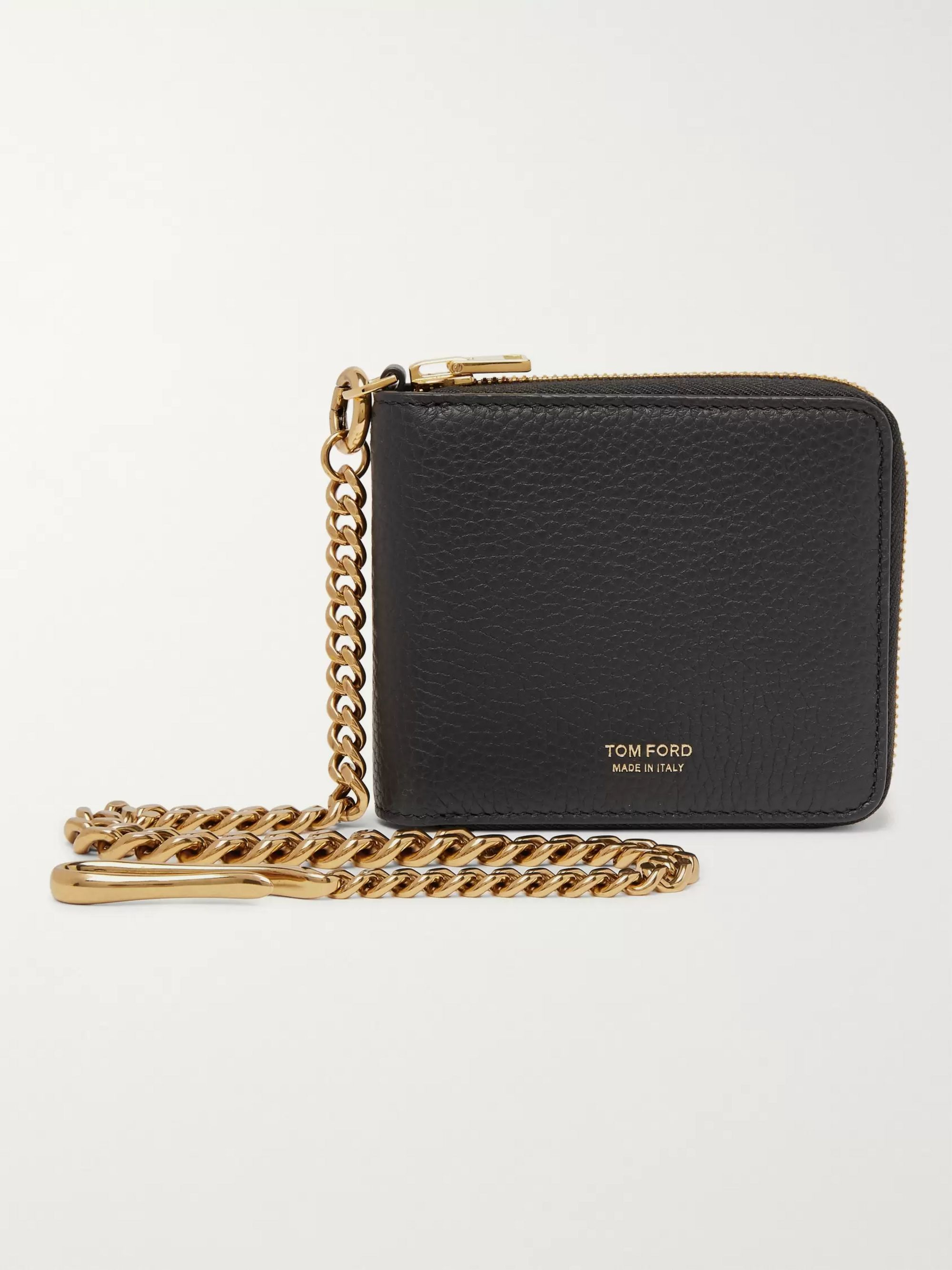 Chain Embellished Full Grain Leather Zip Around Wallet
