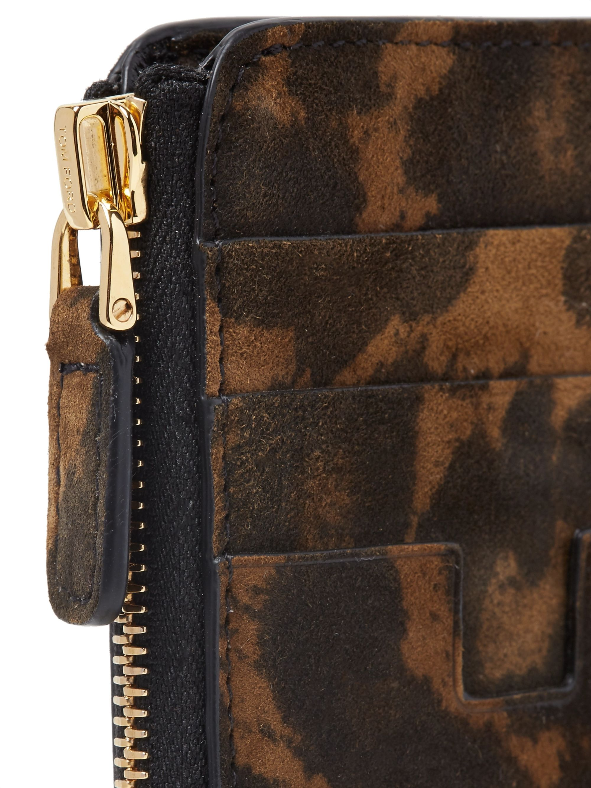 TOM FORD Leopard-Print Nubuck Zip-Around Cardholder