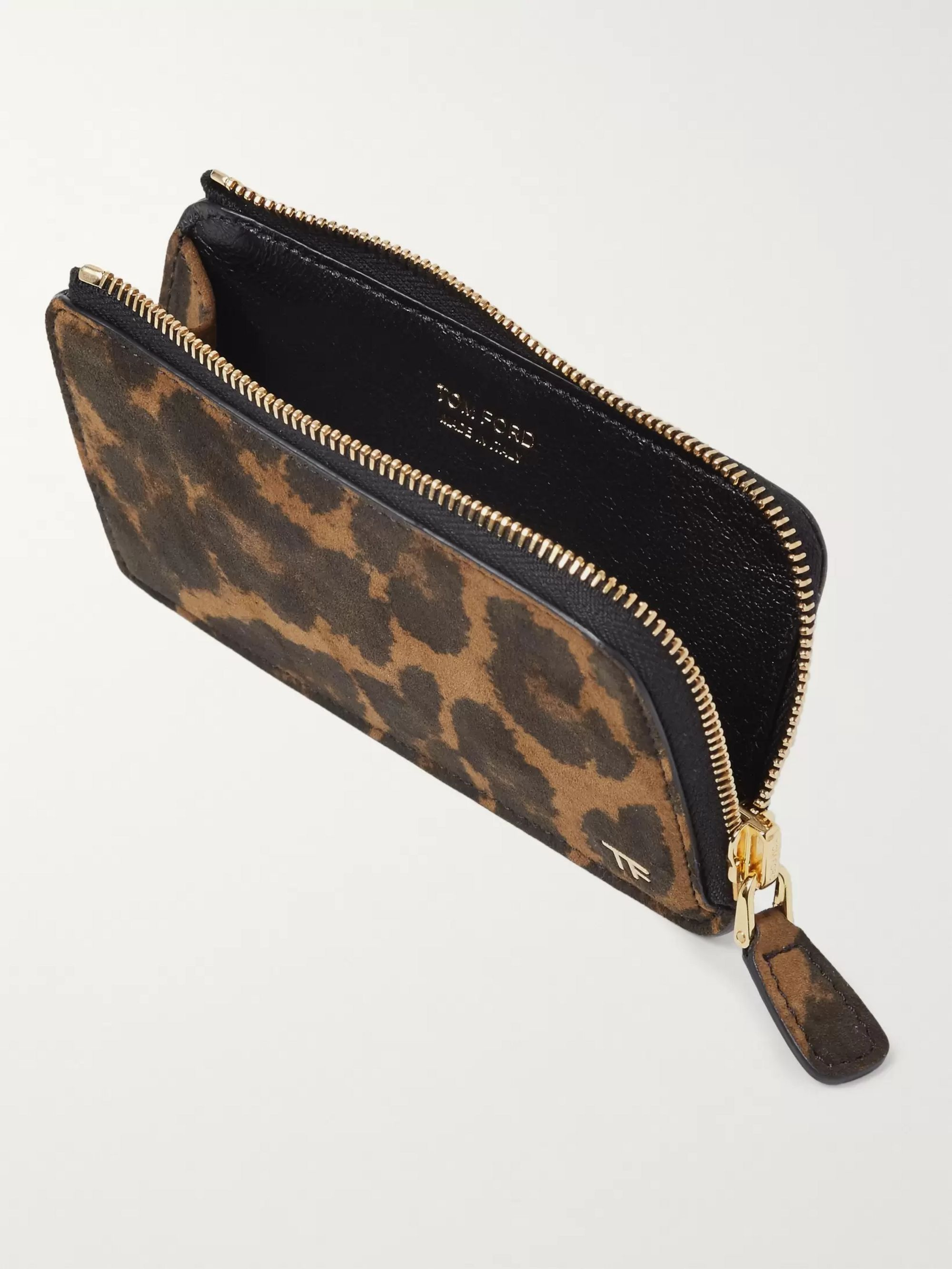 Leopard Print Nubuck Zip Around Cardholder