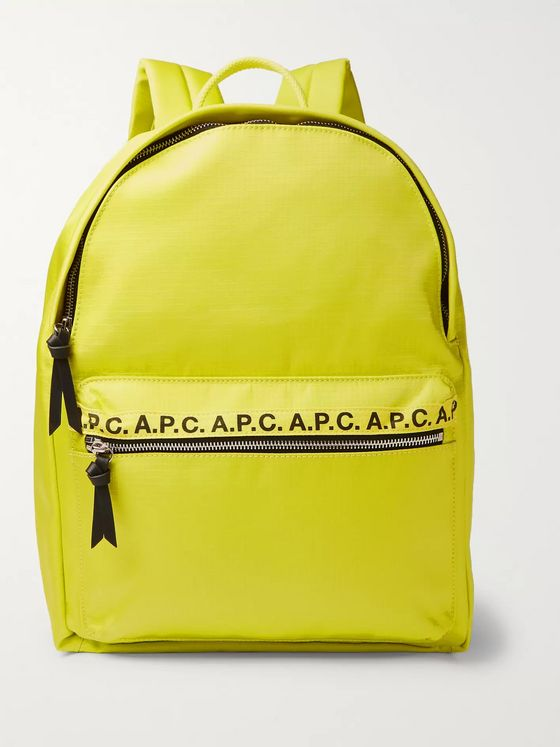 A.P.C. Logo and Leather-Trimmed Ripstop Backpack