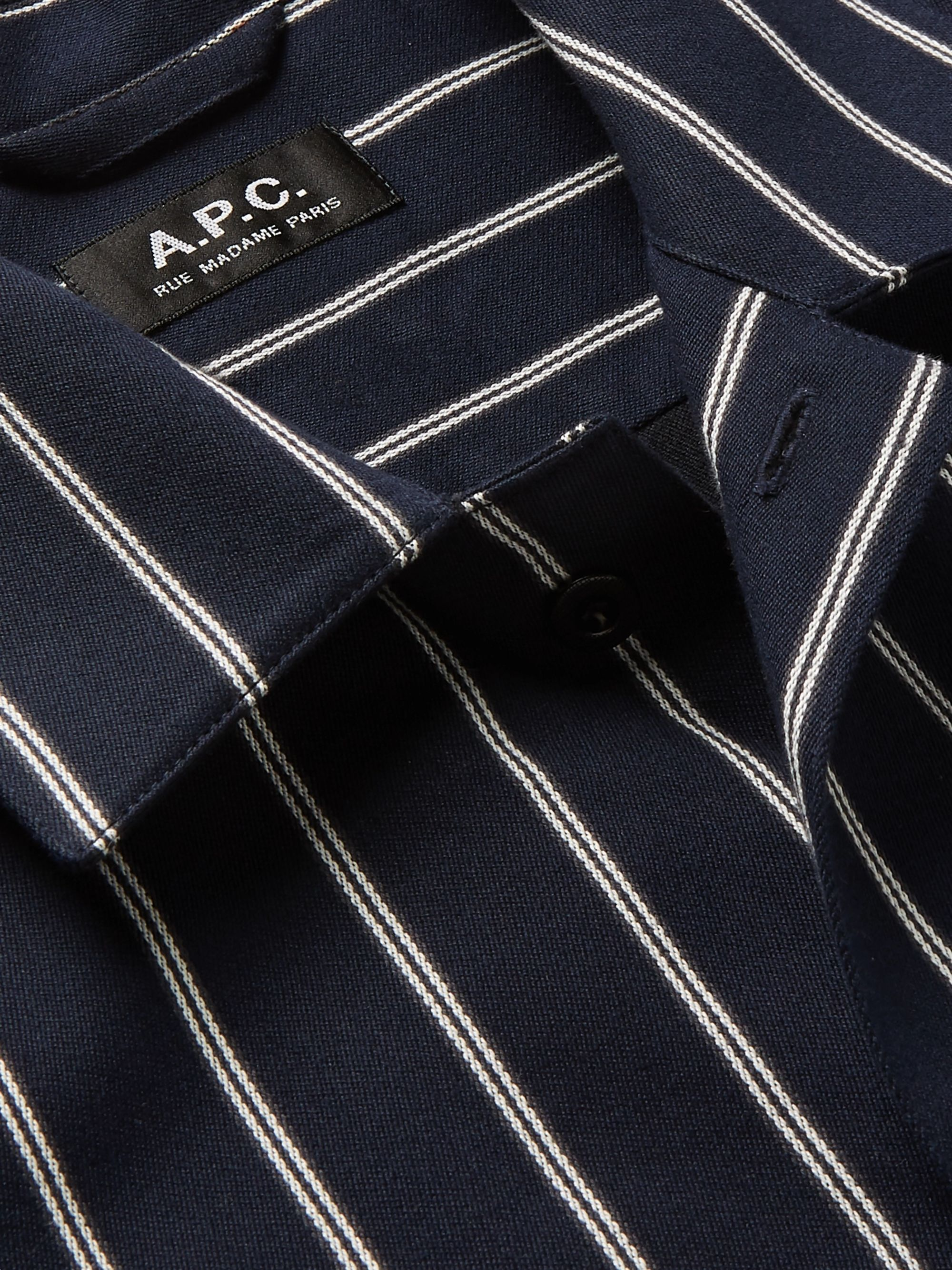 A.P.C. Camp-Collar Striped Cotton and Wool-Blend Shirt
