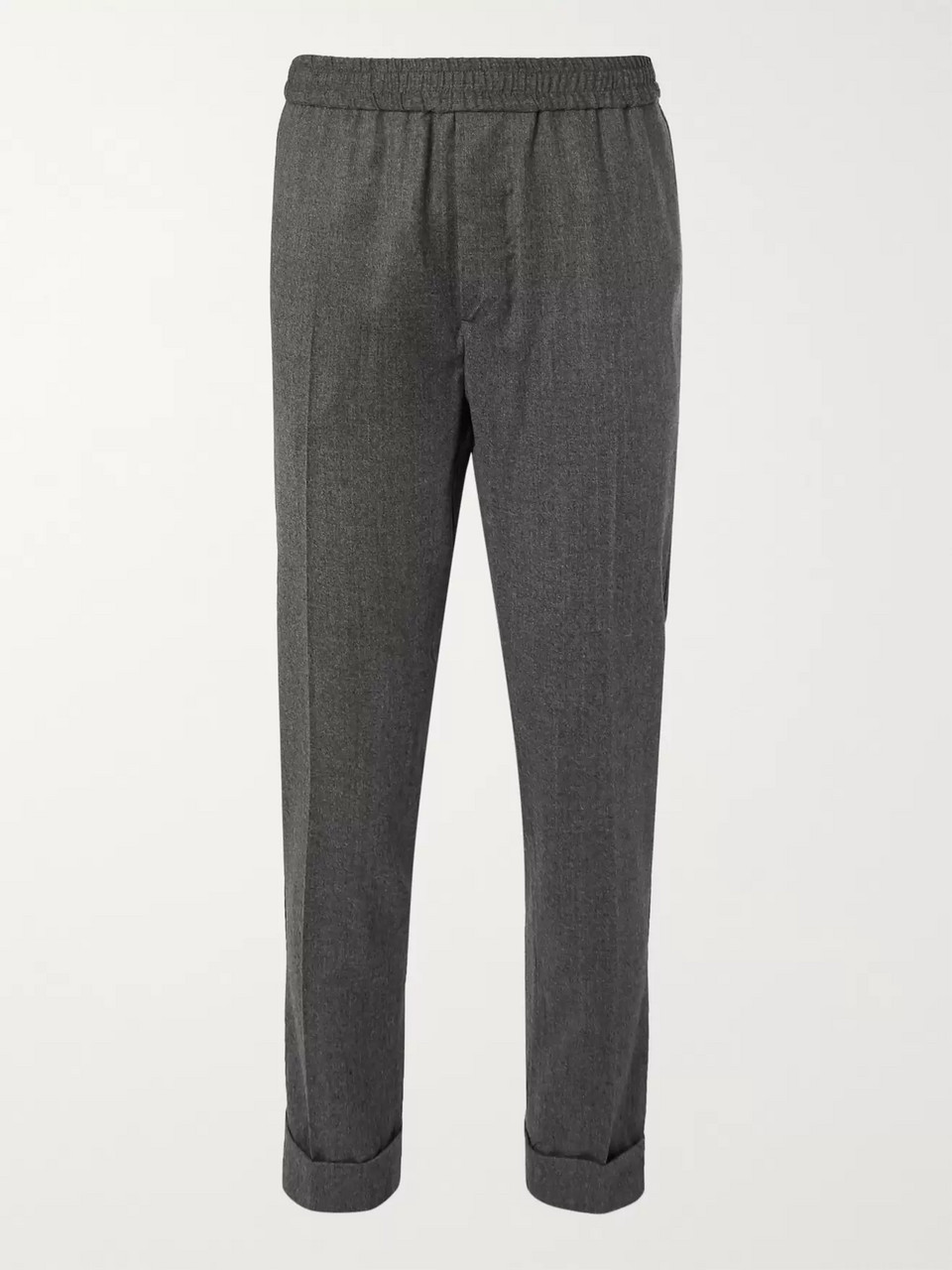 AMI Grey Slim-Fit Tapered Mélange Virgin Wool Drawstring Trousers