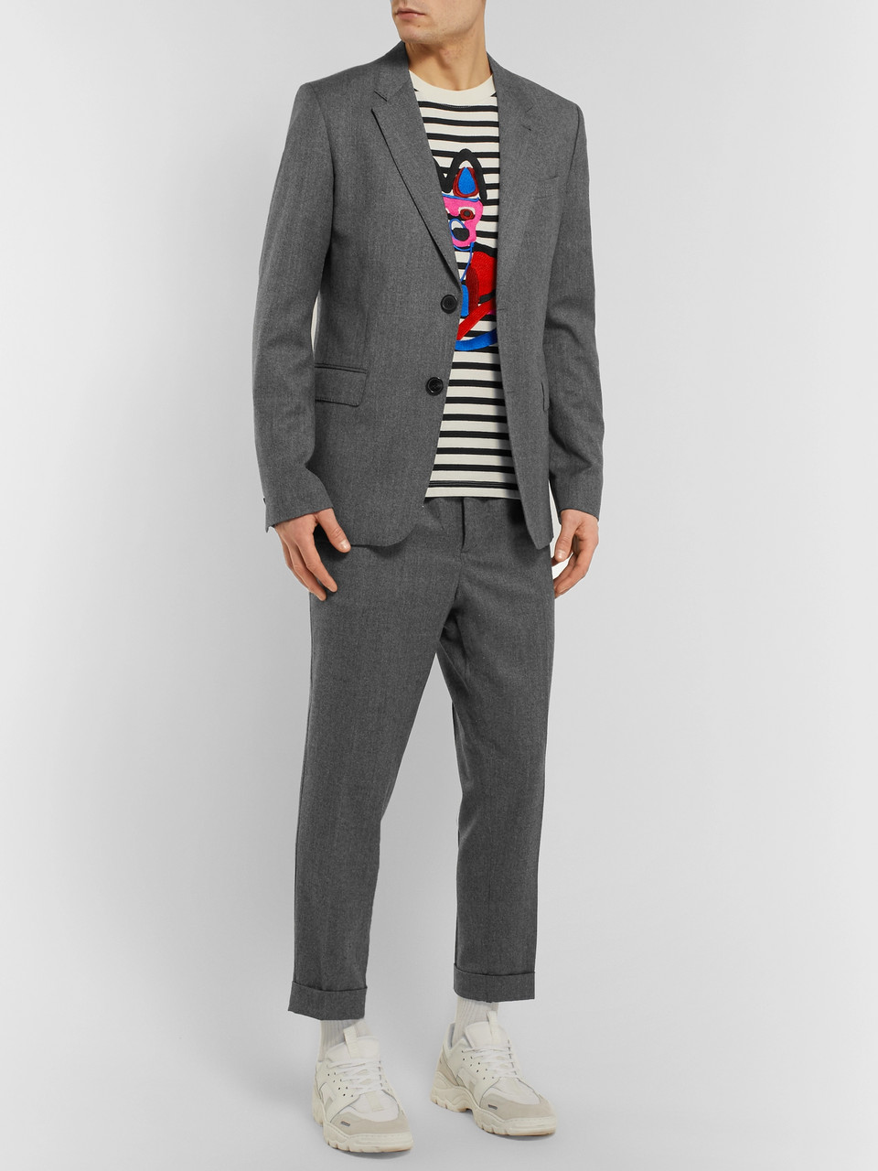 AMI Grey Slim-Fit Mélange Virgin Wool Suit Jacket