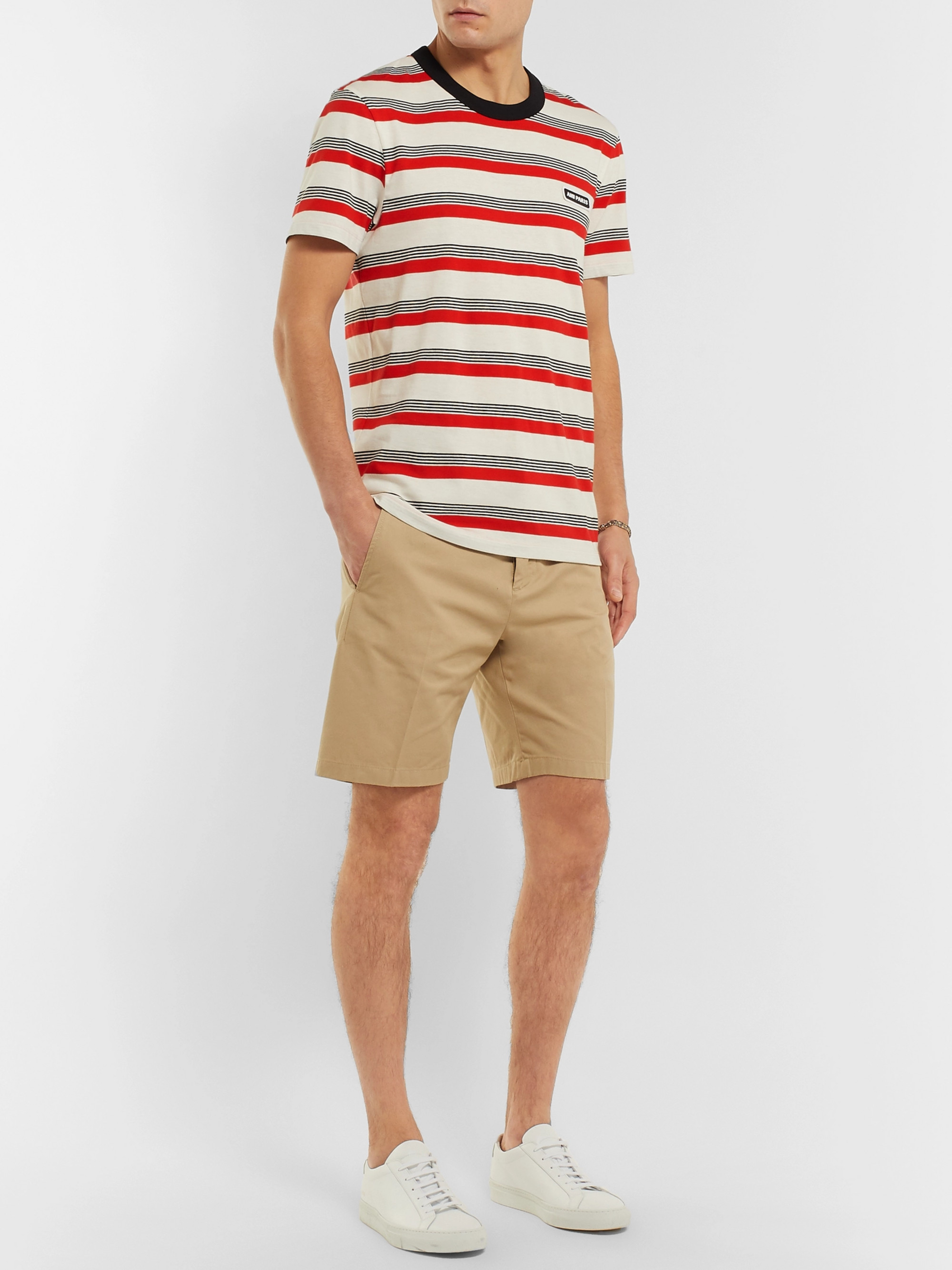 AMI Logo-Appliquéd Striped Cotton-Jersey T-Shirt