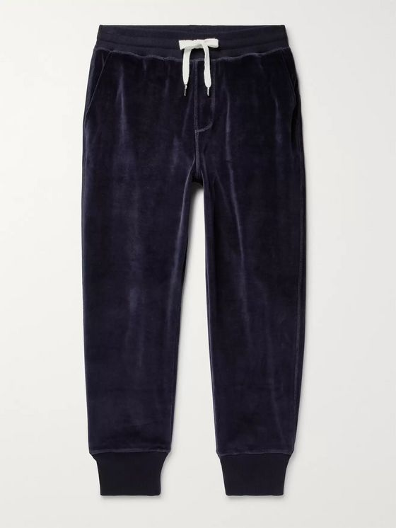 AMI Tapered Cotton-Blend Velour Sweatpants